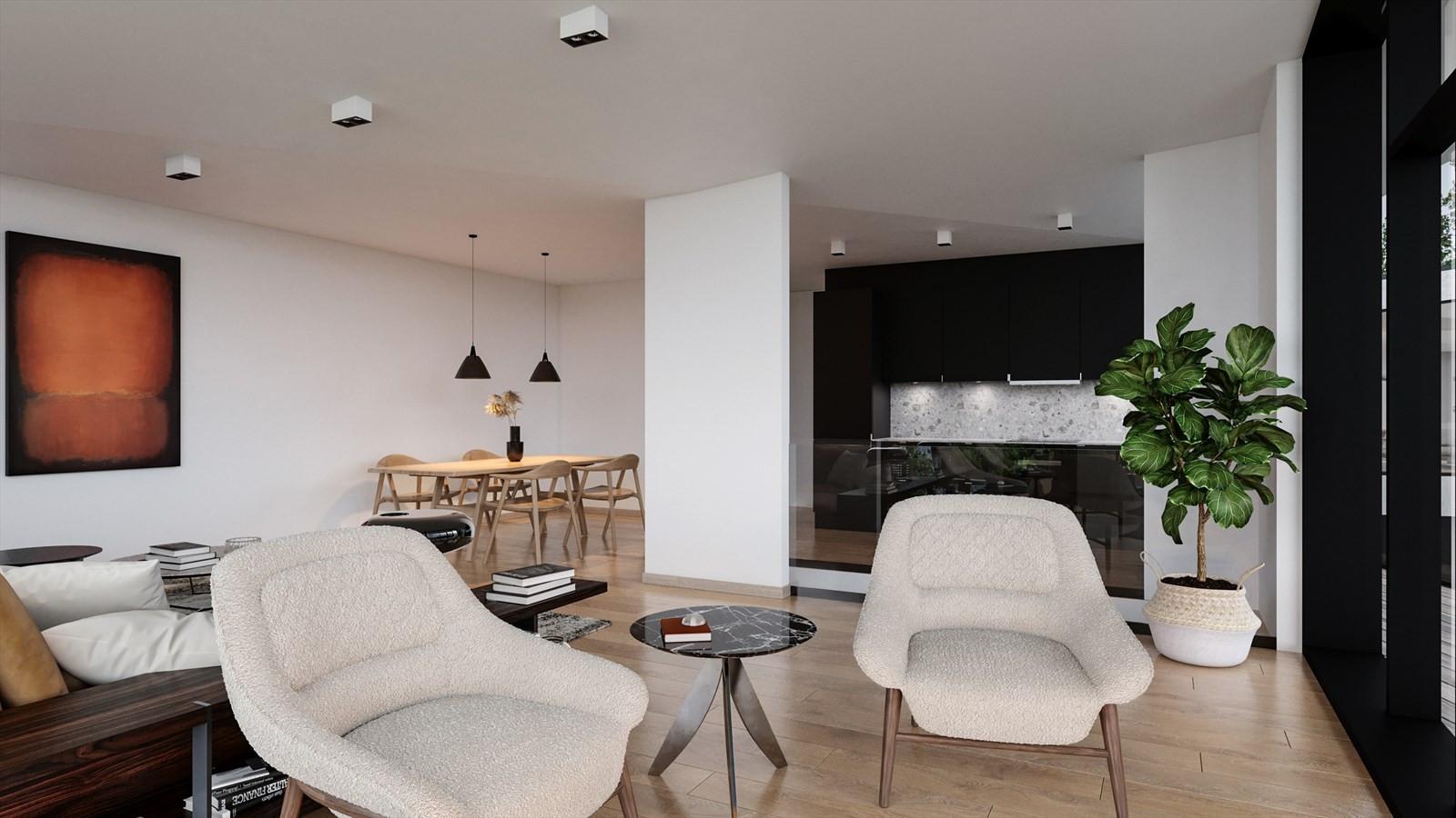 Stue og kjøkken i Hus B