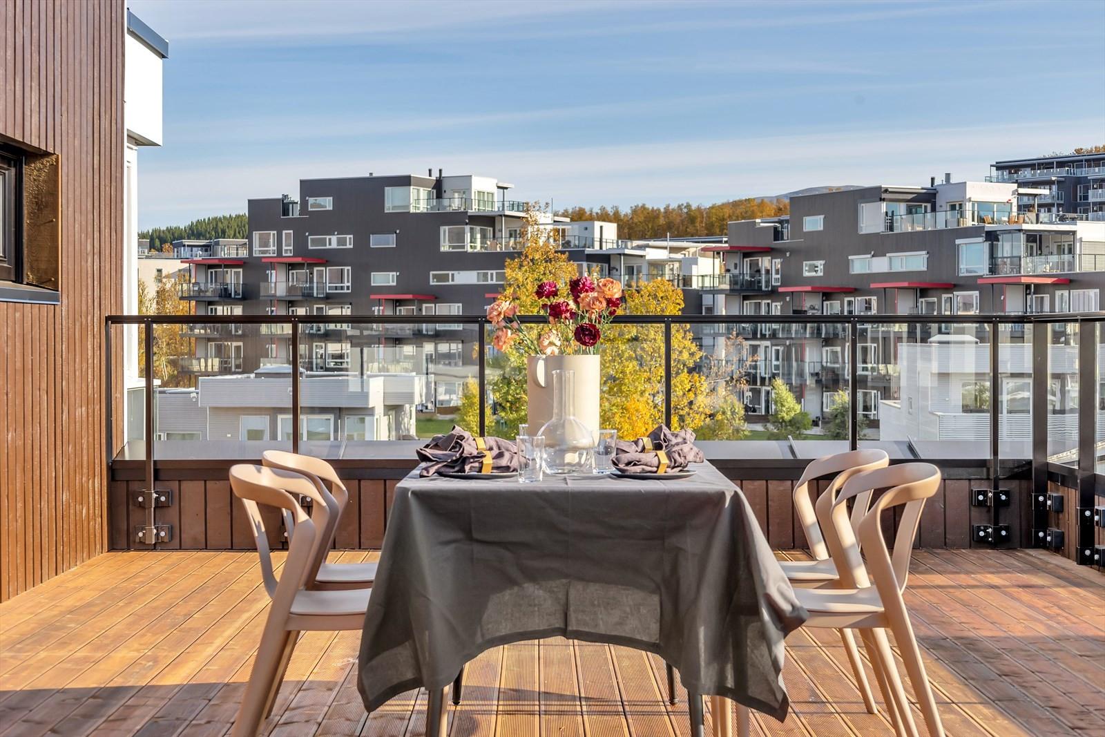 Den solrike terrassen har ubegrenset plass til møblering