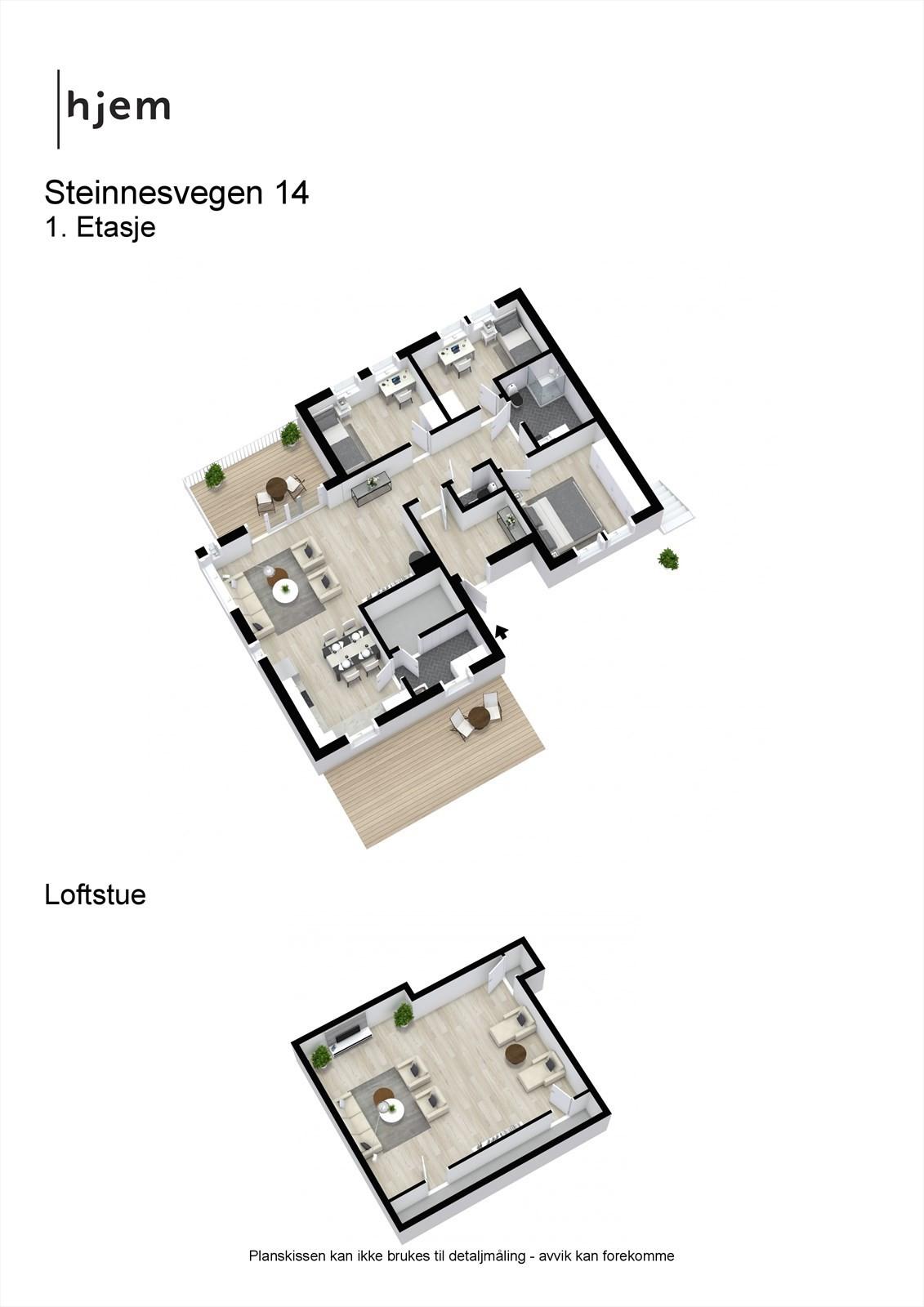 Steinnesvegen 14 - 3D - Begge etasjer.