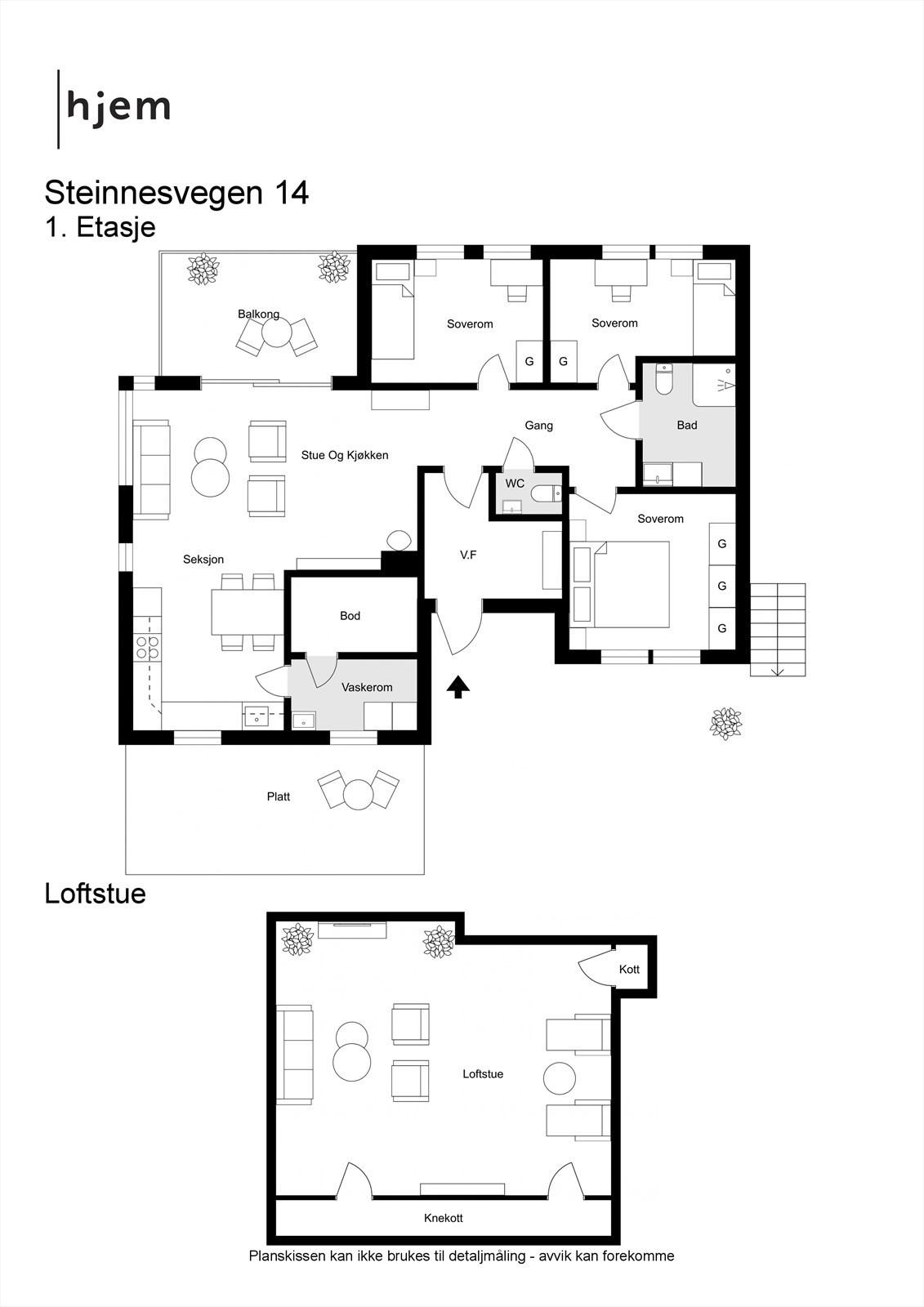 Steinnesvegen 14 - 2D - Begge etasjer.