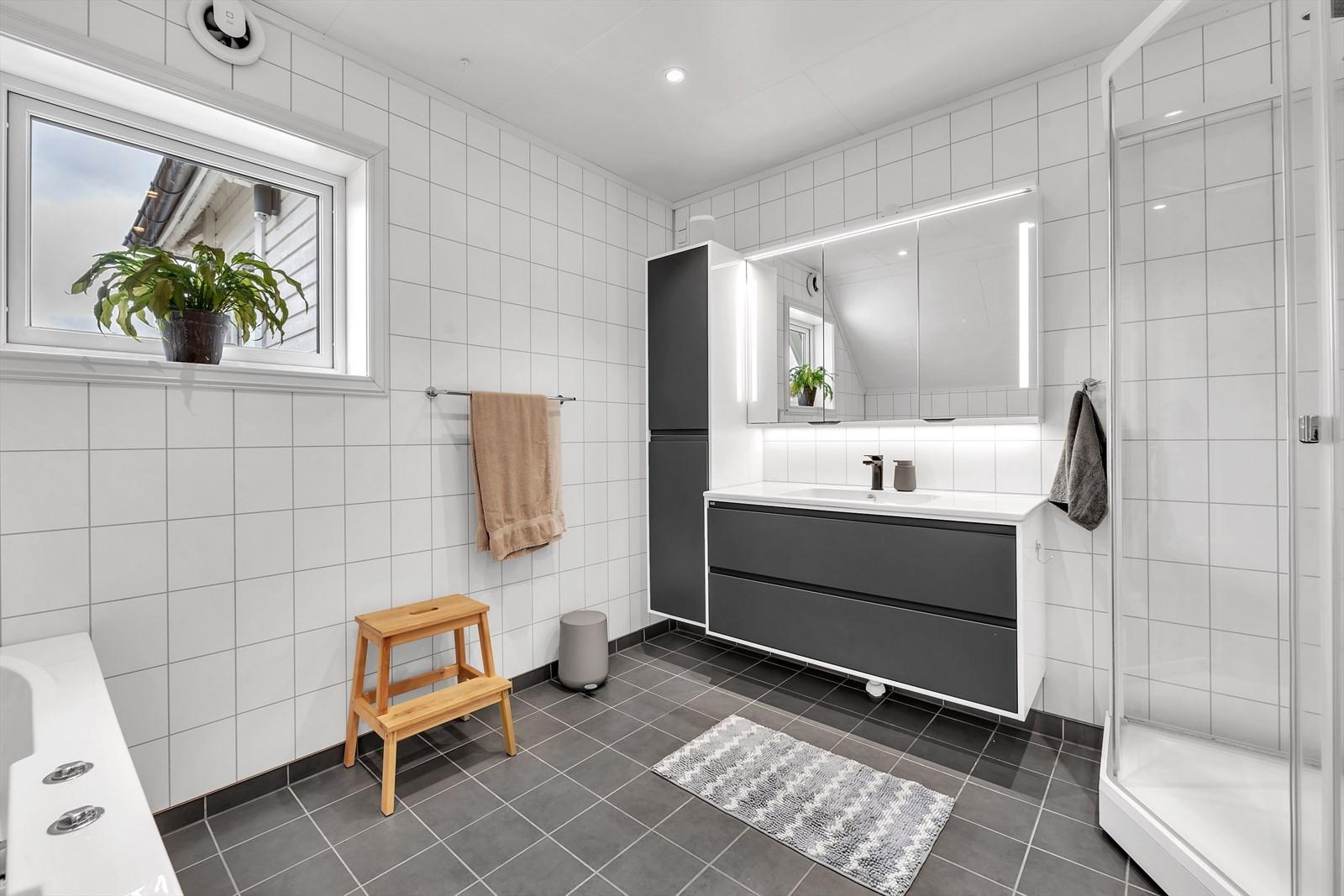 Her har du stor innredning med god lagringsplass, dusjkabinett og badekar (boblekar)