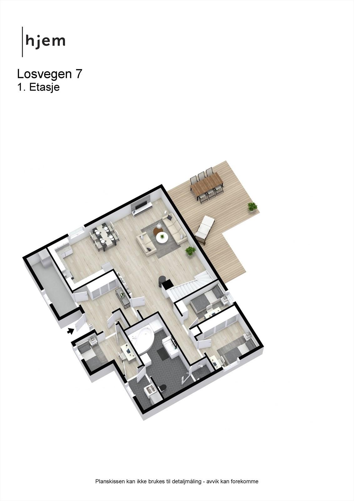 Planløsning 1. etasje 3D