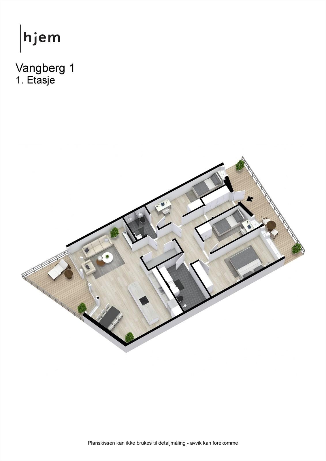 Vangberg 1 D - 3D planillustrasjon