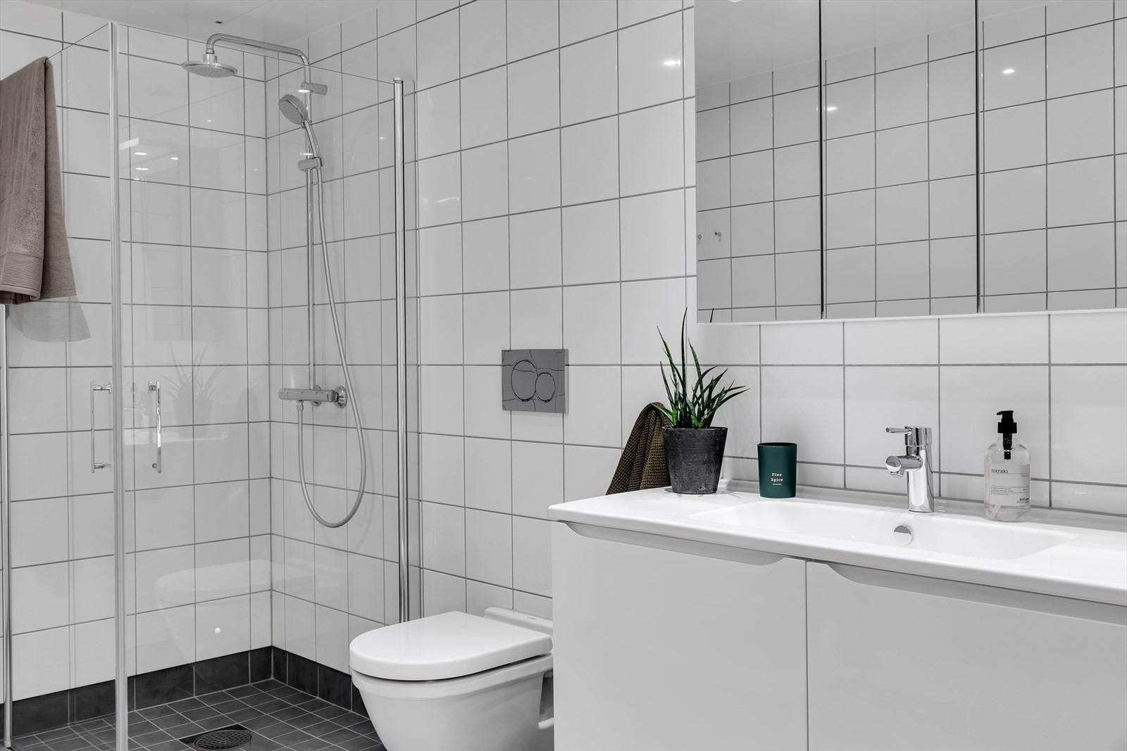 Komplett flislagt badrom med dusjnisje og vegghengt toalett.