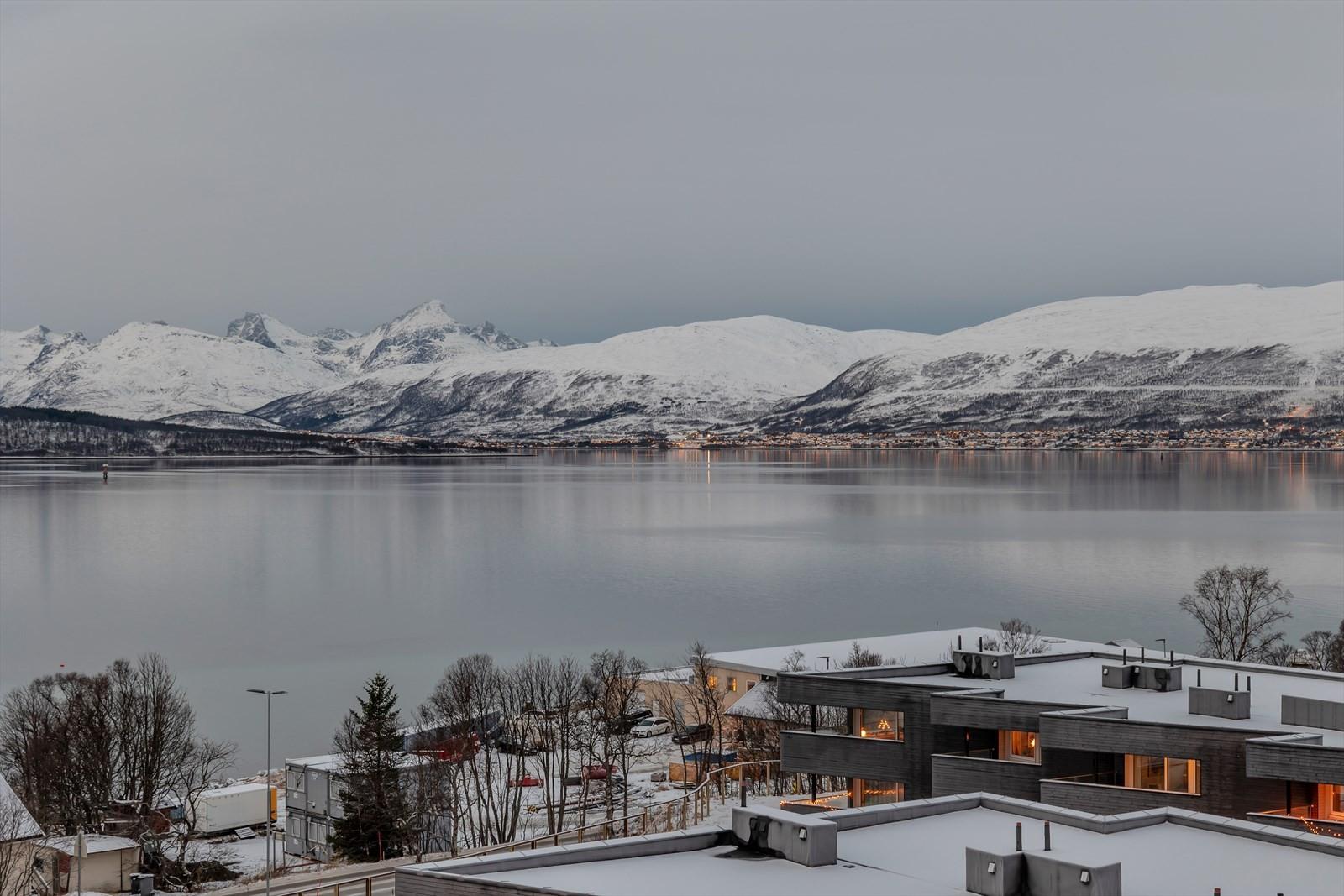 Utsikt fra felles terrasse.