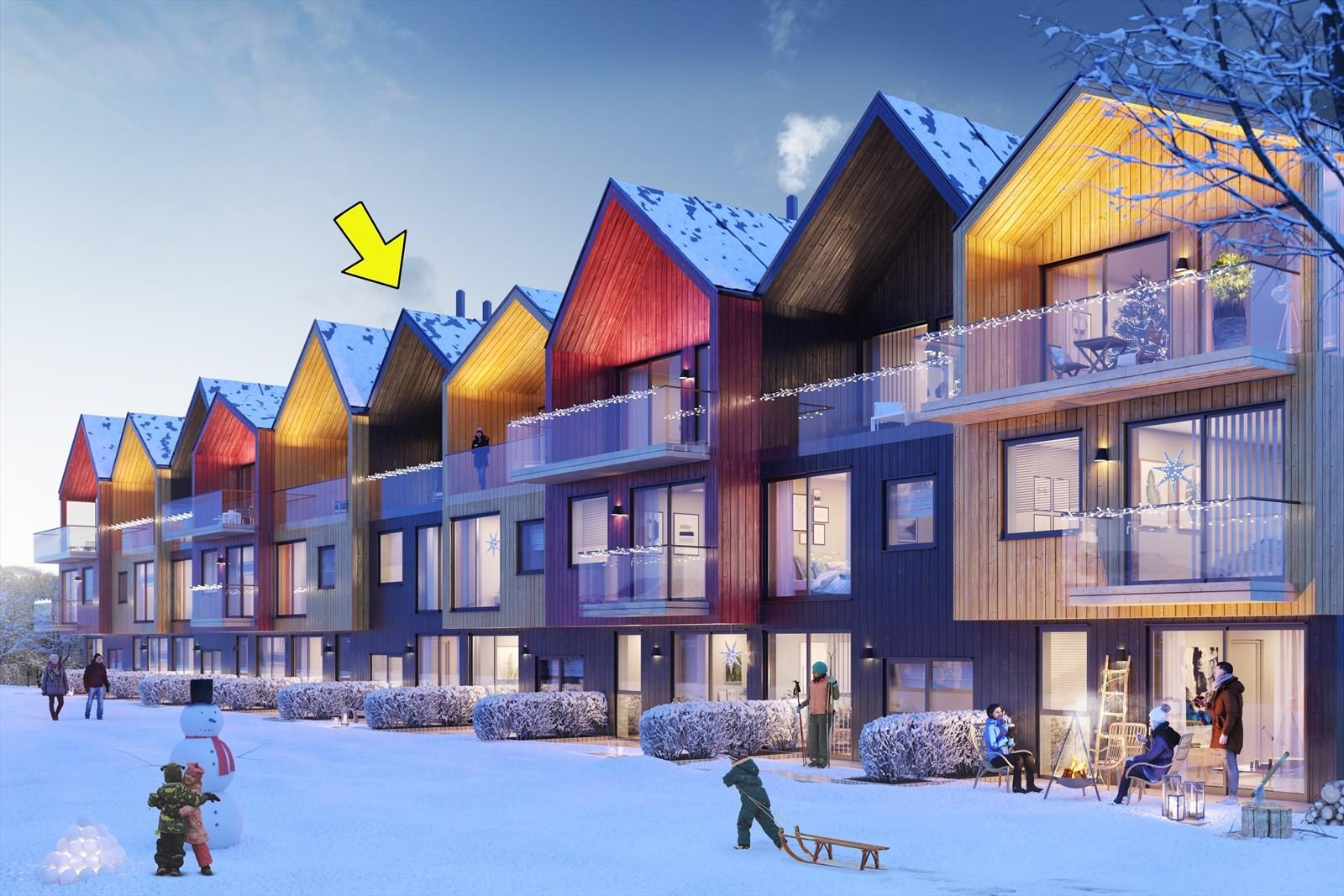 Bolig 6-1 ligger i rekken av flerfargede og arkitektonisk lekre boliger