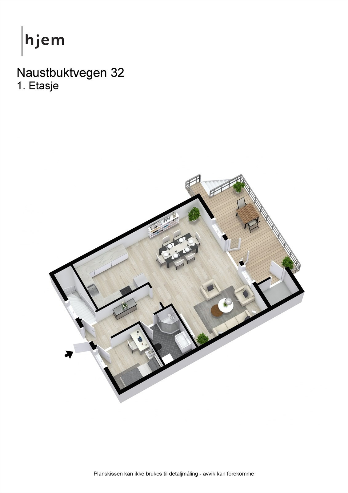 Planløsning 3D 1. etasje.