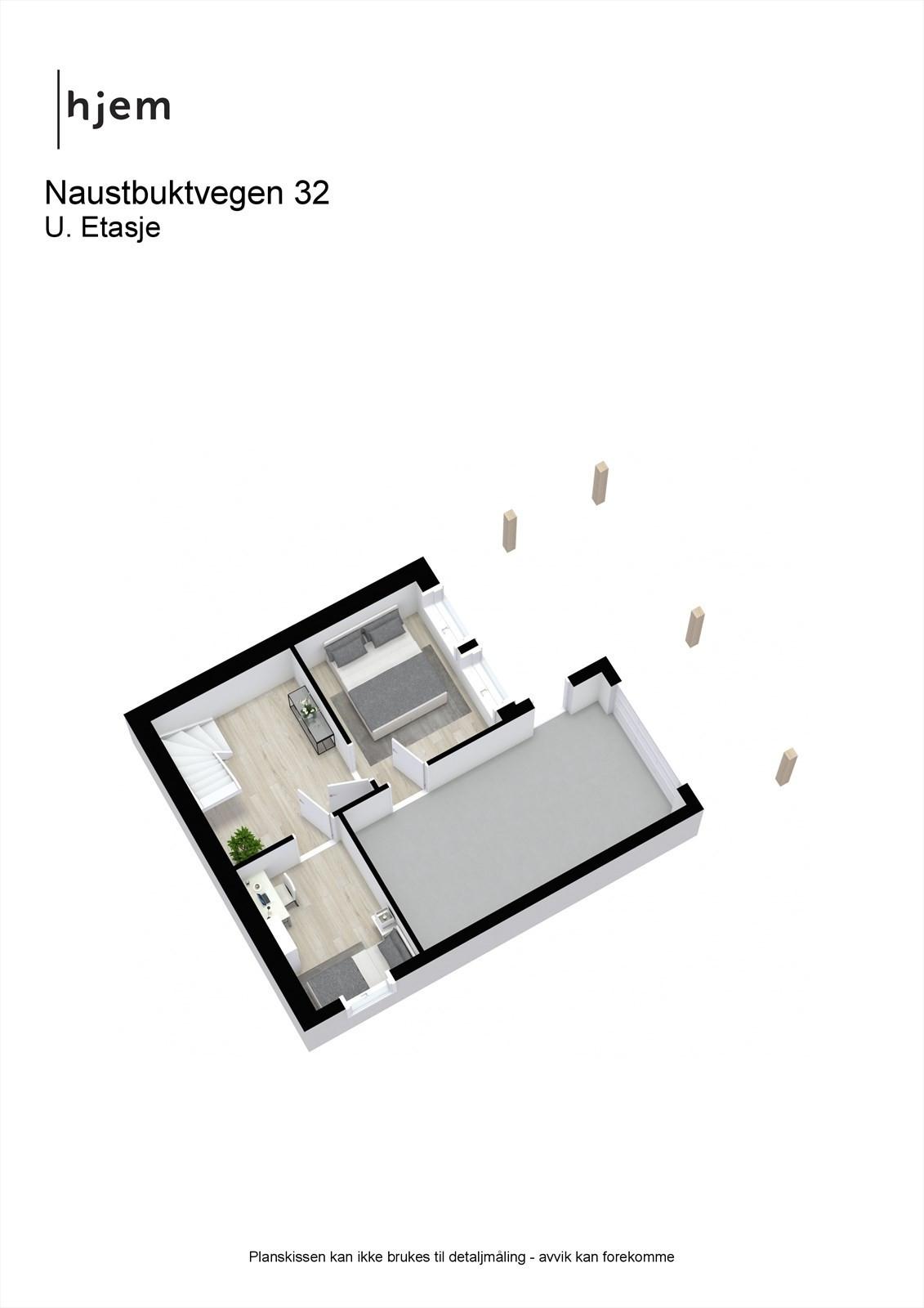 Planløsning 3D underetasje.