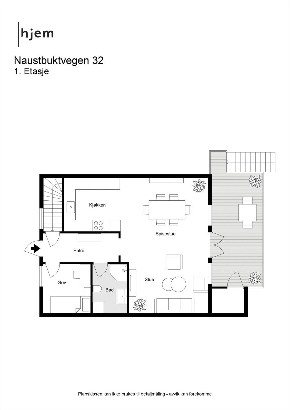 Planløsning 2D 1. etasje.