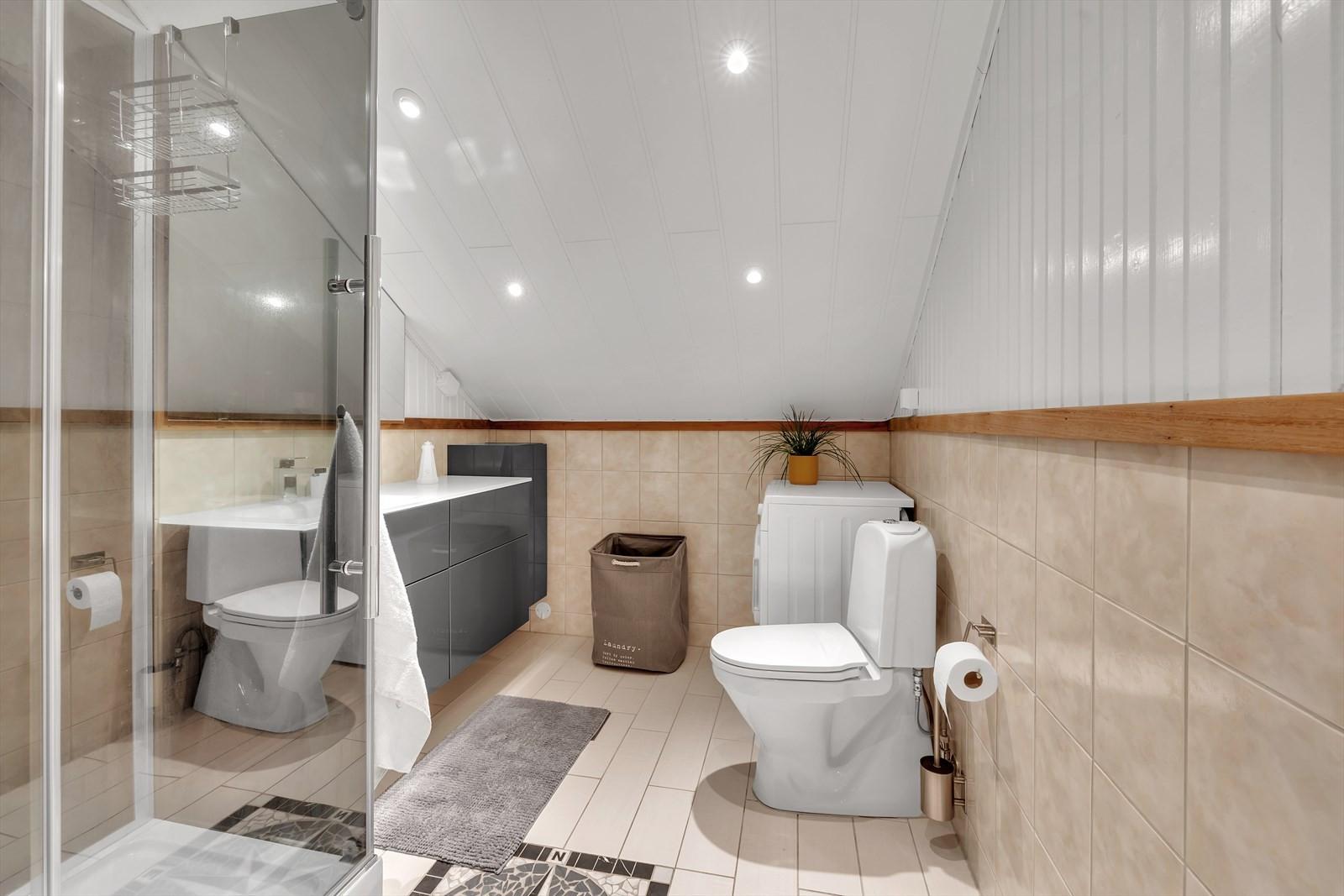 Flislagt bad med dusjkabinett, baderomsinnreding, opplegg til vaskemaskin og wc. Downligts i tak.