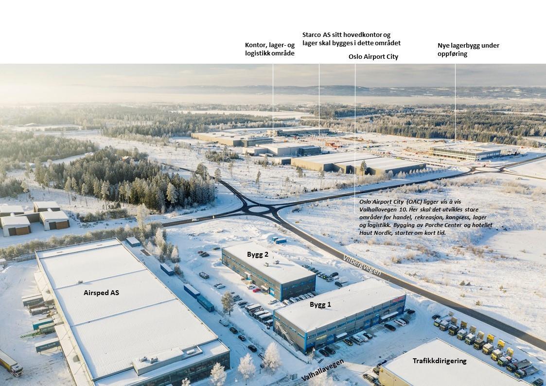 Valhallavegen 10 er beliggende vis a vis Oslo Airport City sitt område