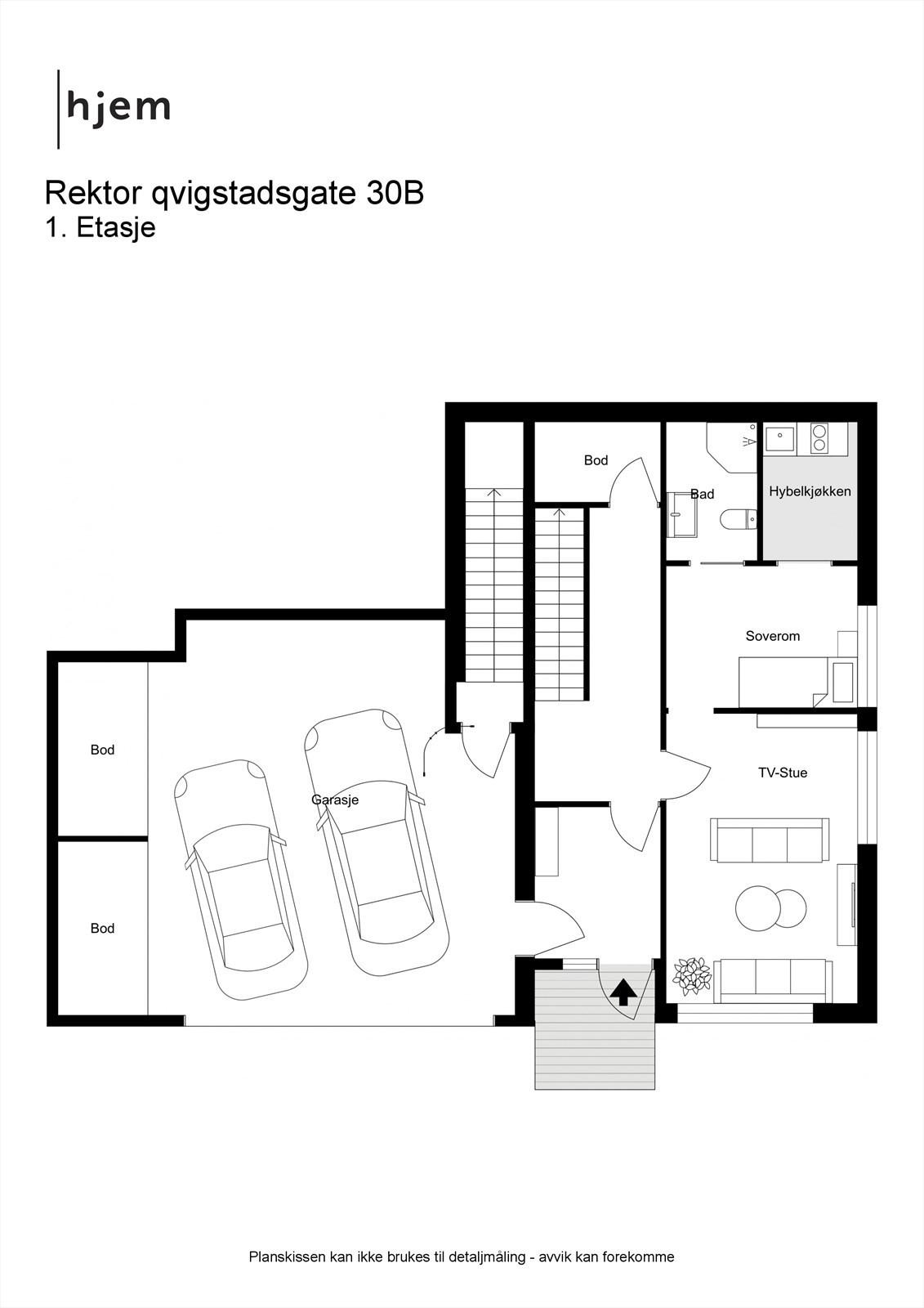 Plantegning 1. etasje. (Garasjen er felles med naboen)