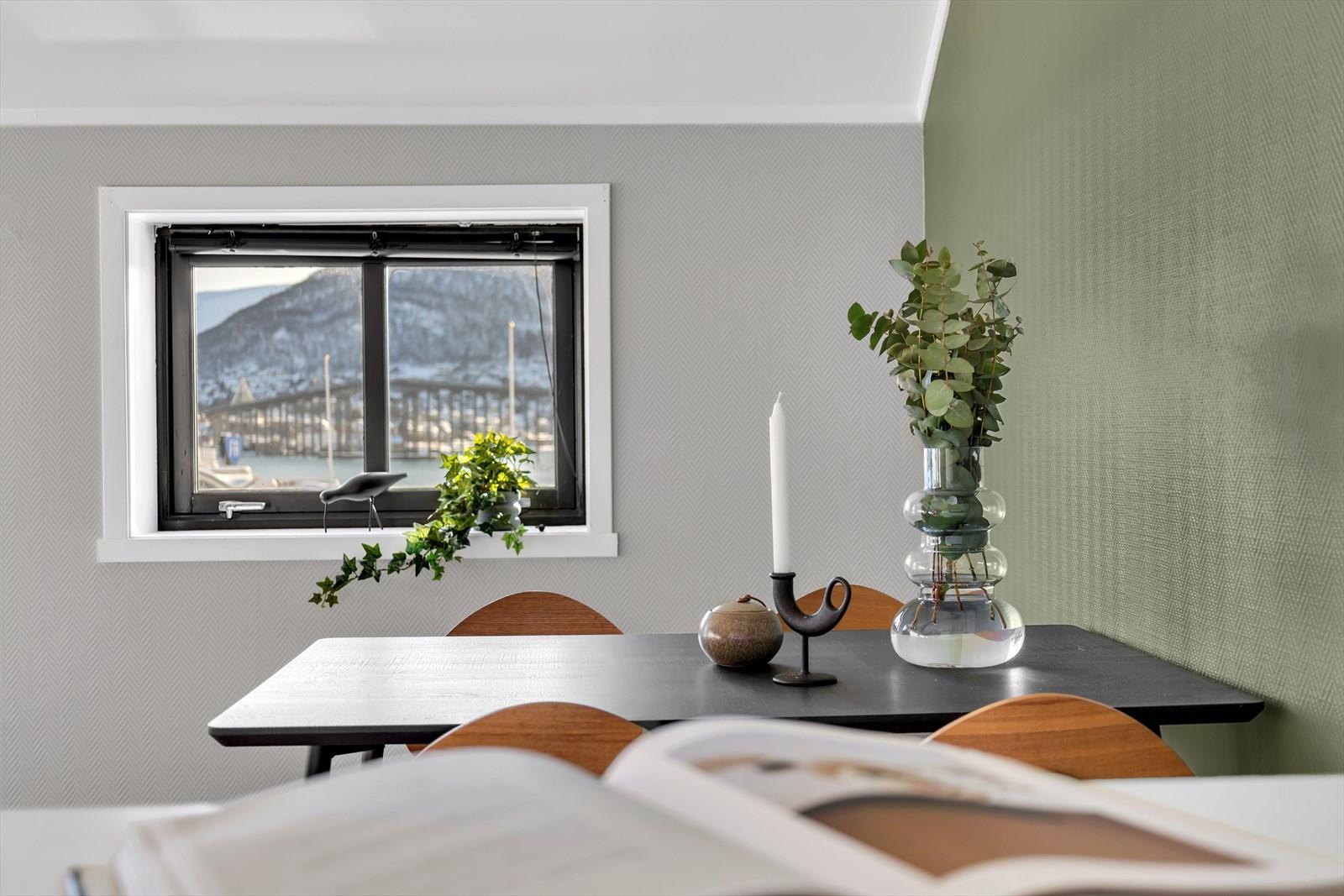 Flott utsikt og gode lysforhold fra kjøkken og spisestue.
