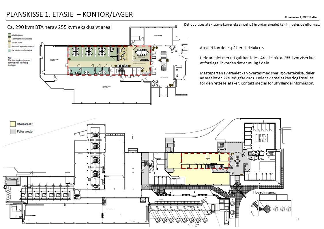 Planskisse 1. etasje - forslag til inndeling