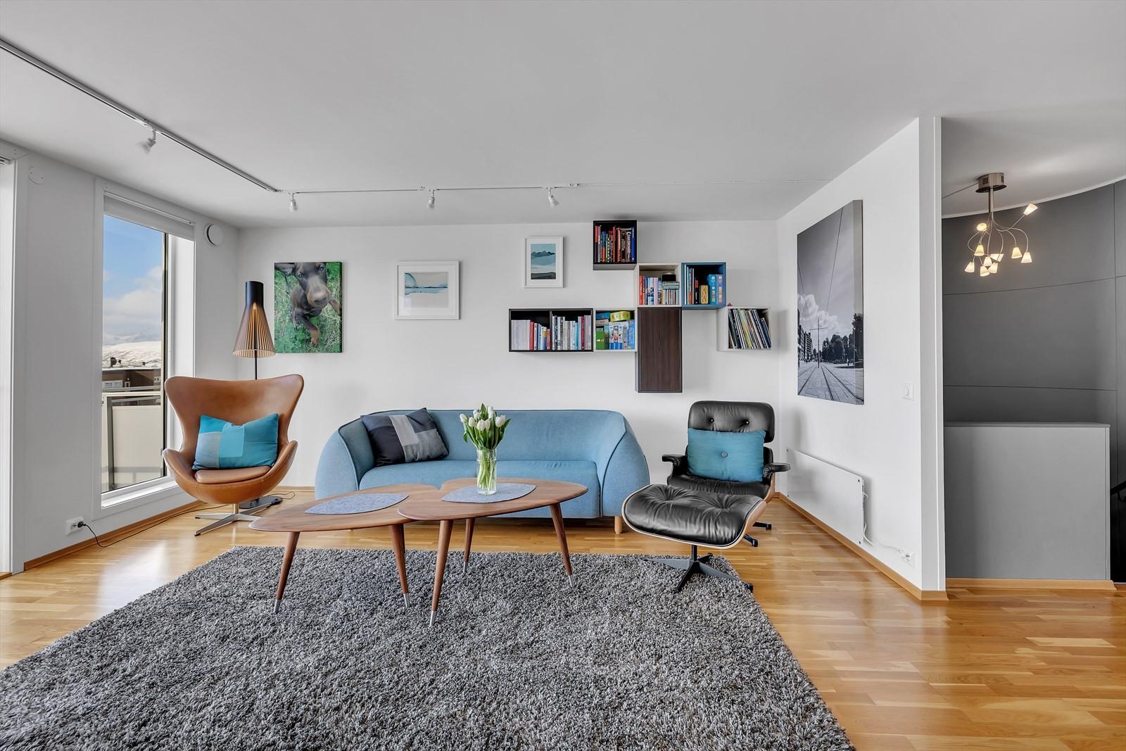 Stor stue med gode møbleringsmuligheter