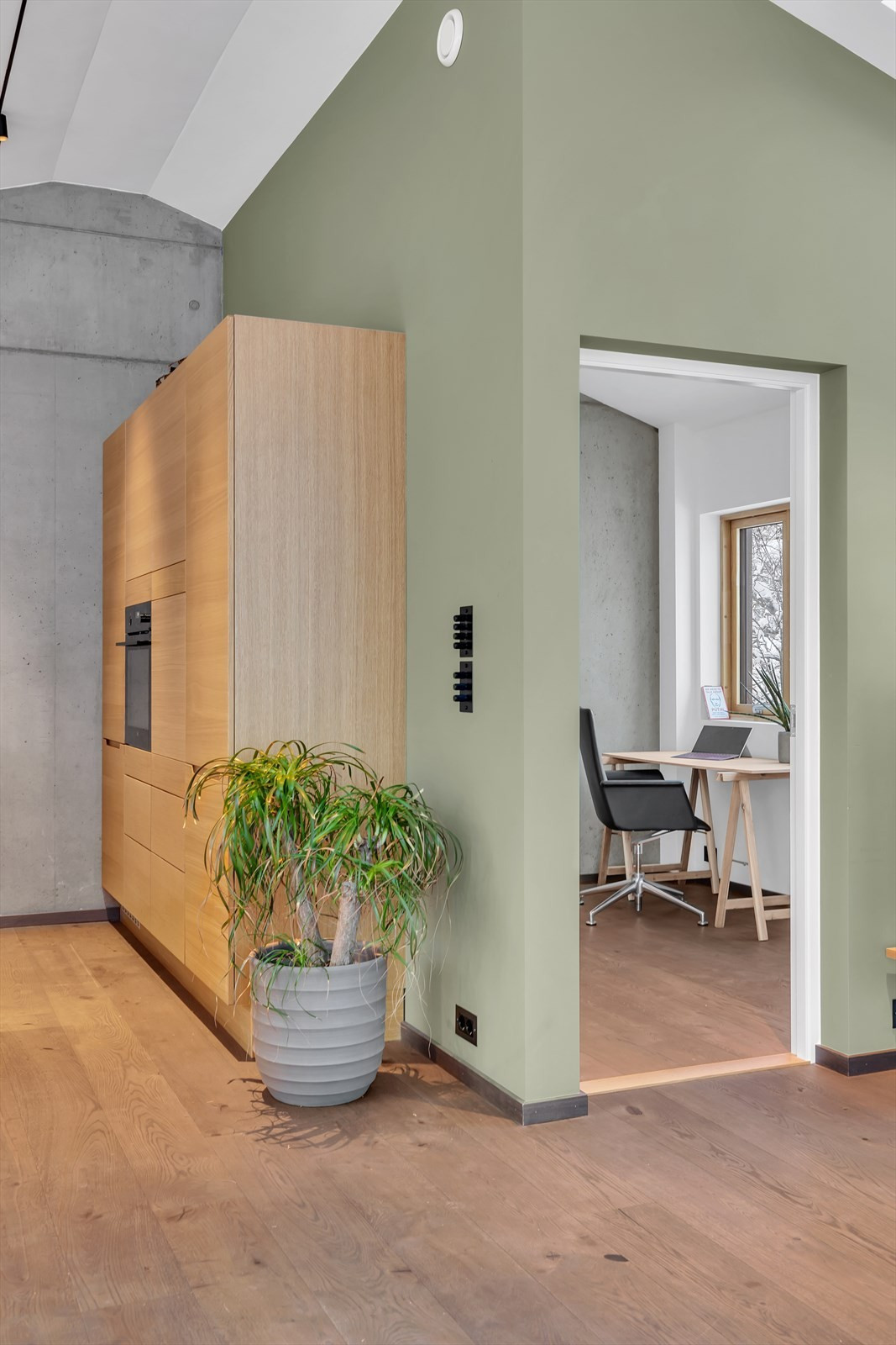 Inngang til kontor/tv-stue/soverom.