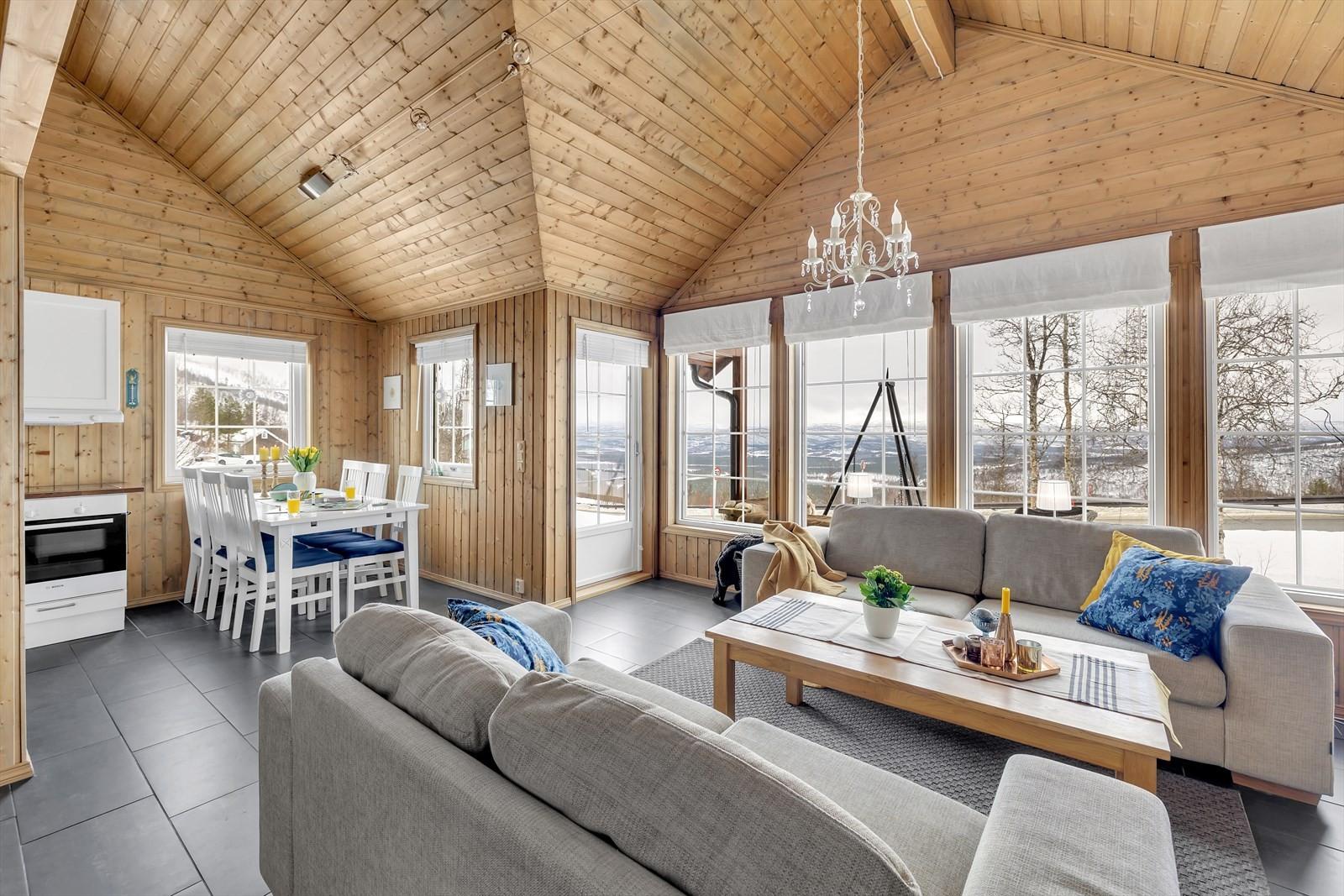 Romslig stue med høyt under taket og store vindusflater!