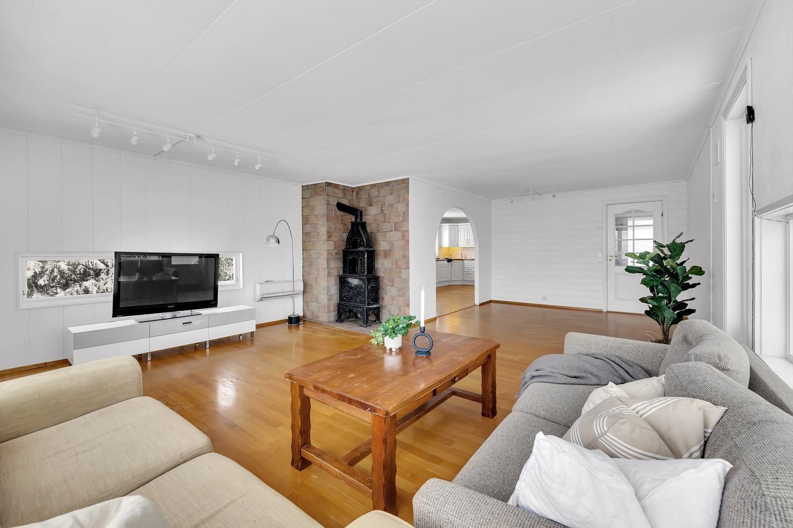 Stor stue med vinduer med godt lysinnslipp. Vedfyring.