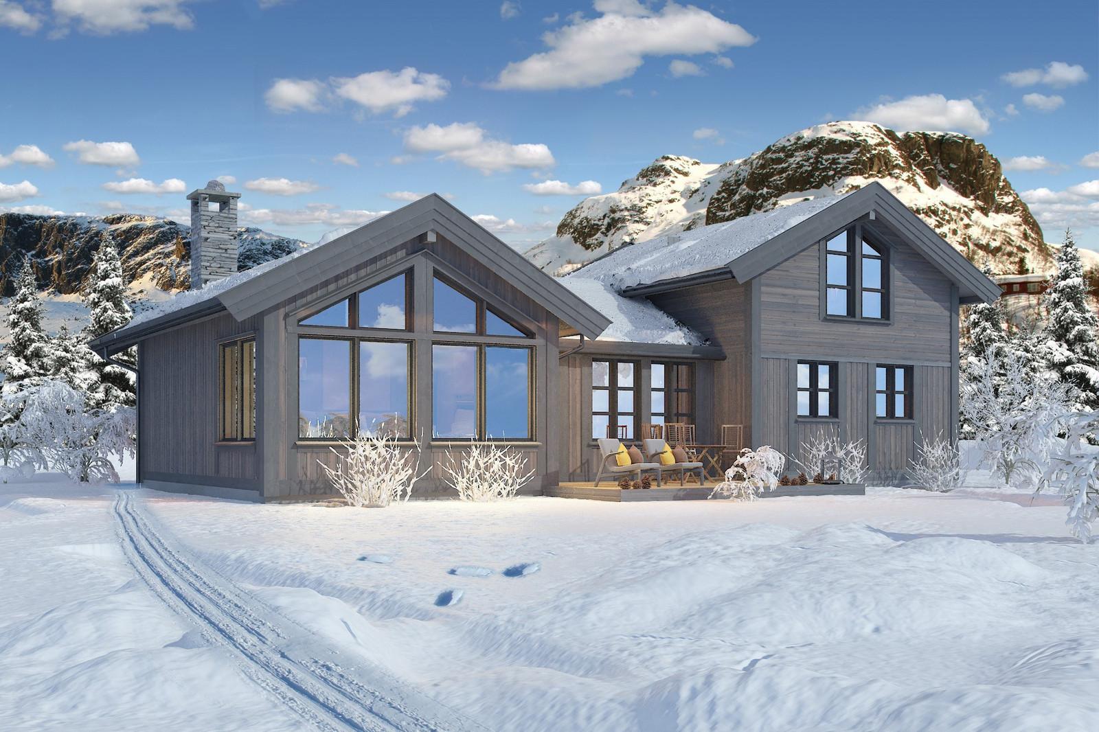 Vår bestselger Buen Høgtind illustrert i vinterlandskap. Kanskje din neste hytte?