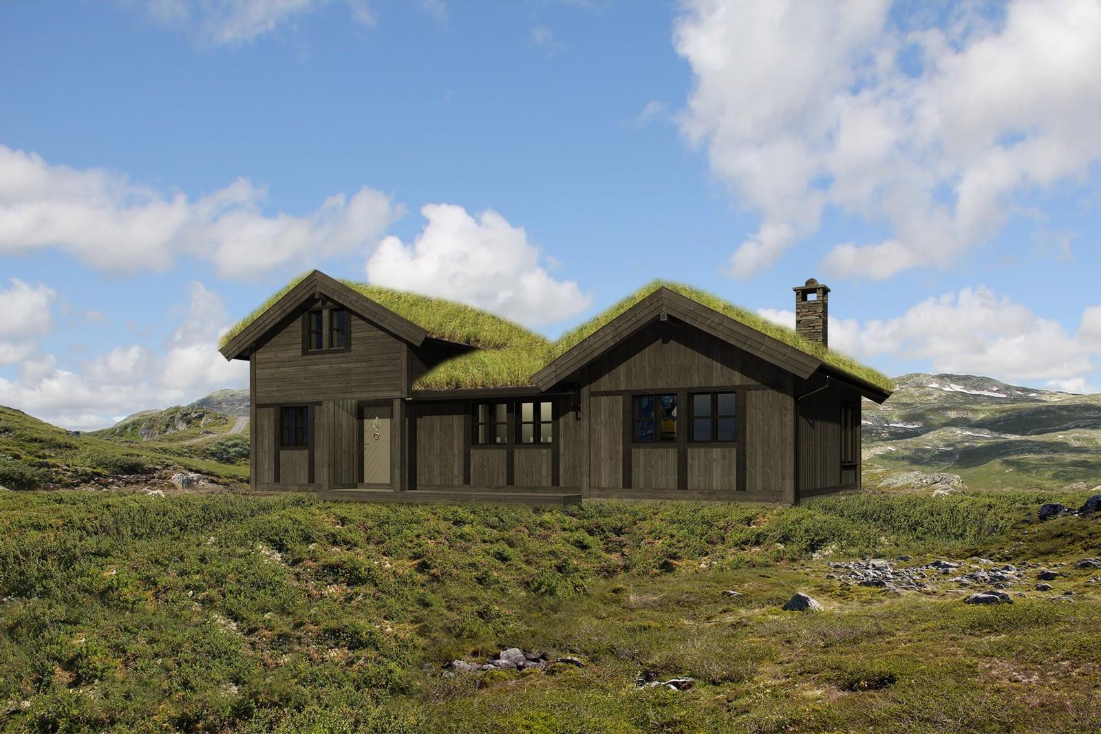 Vår bestselger Buen Høgtind illustrert i sommerlandskap. Kanskje din neste hytte? Bilde er en illustrasjon. Vi har flere varianter av denne