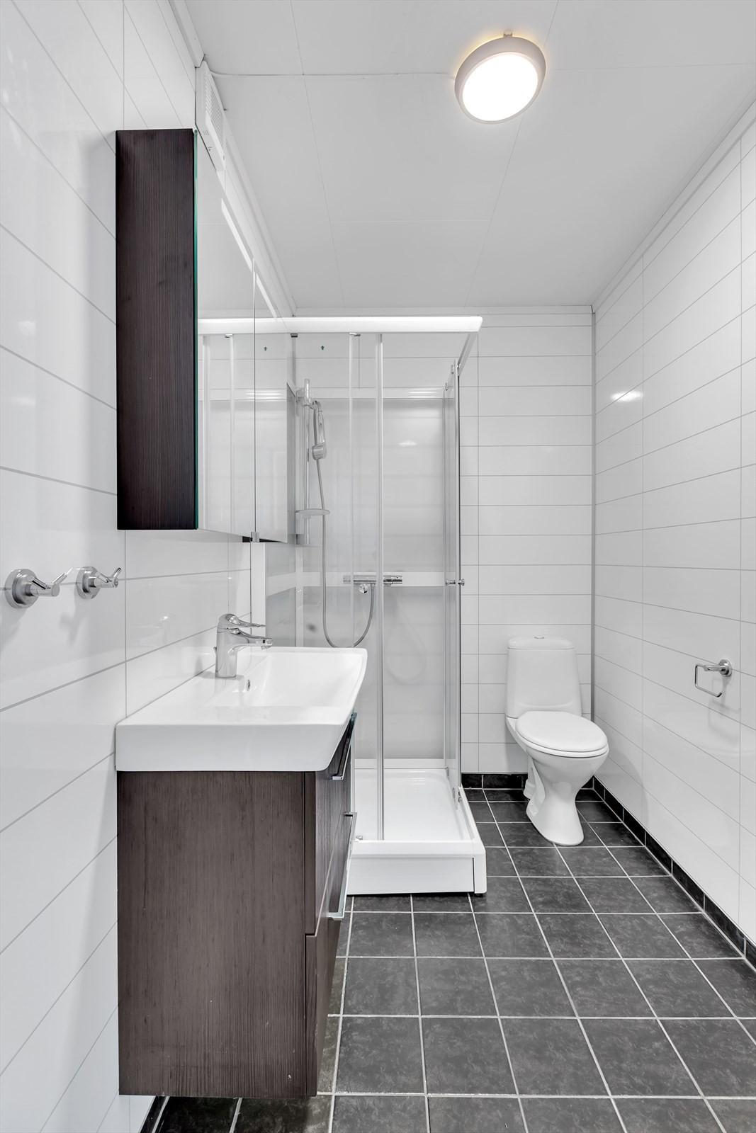 Bad med dusjkabinett, wc og opplegg for vaskemaskin.