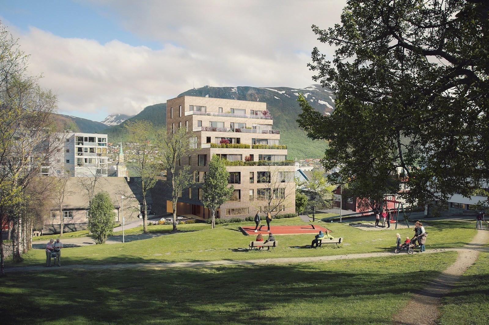 Kongsparken vil få flotte uteområder og grøntareal rett utenfor bygget. Utbygger påkoster nytt lekeområdet samt oppgradere trappen i Kongsparken for helårs bruk.