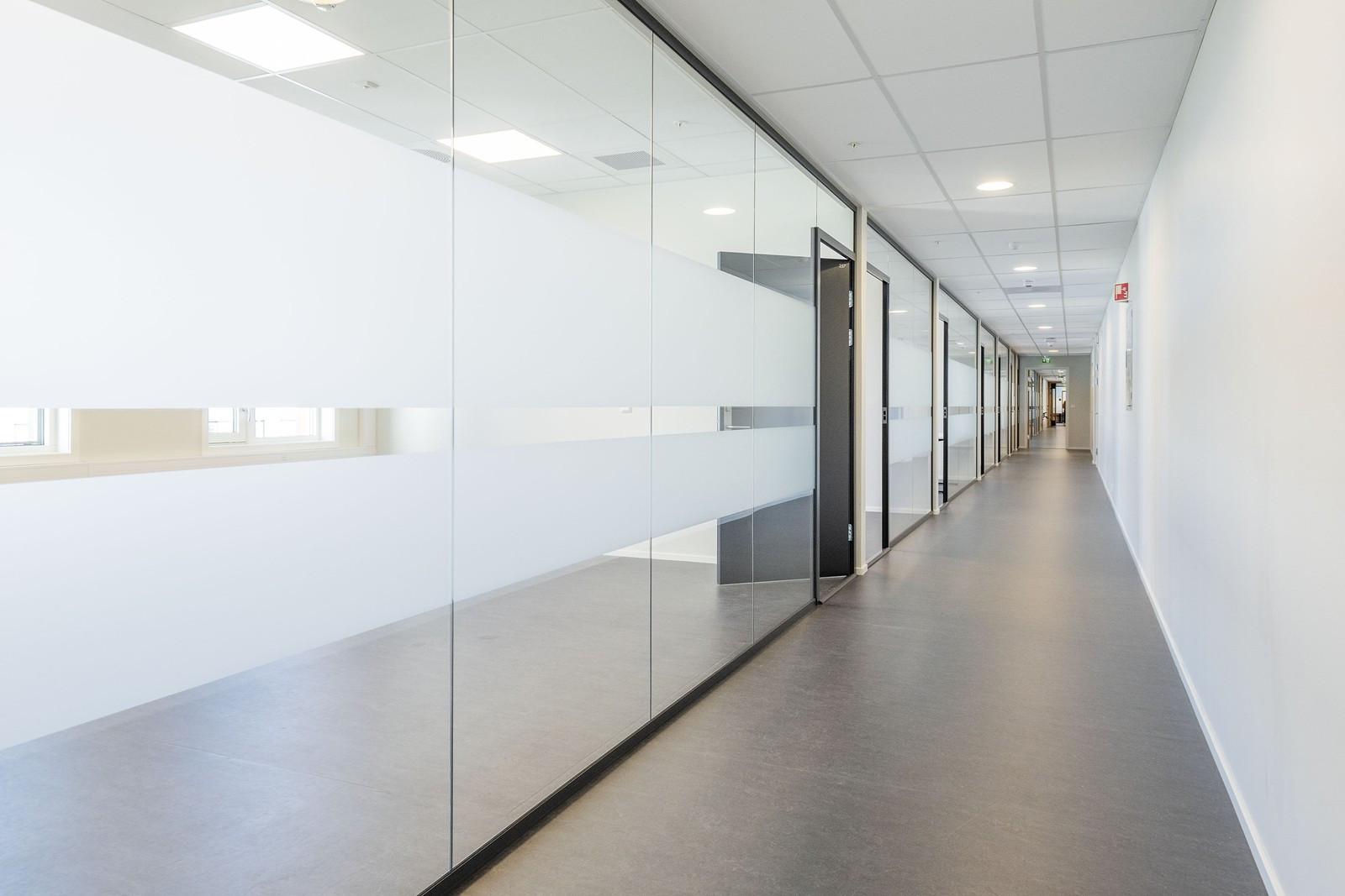 Gangarealer til kontor - moderne glassvegger som slipper gjennom godt med dagslys