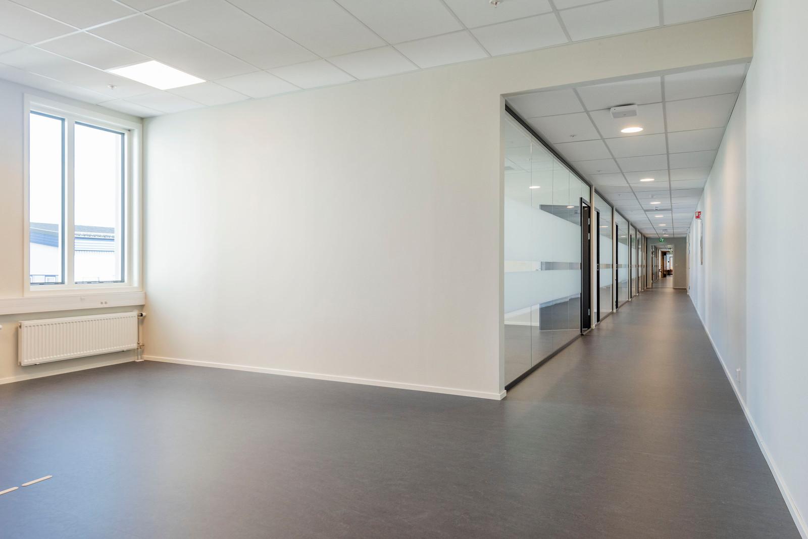 Resepsjon/mottaksområde og gangarealer til kontorer