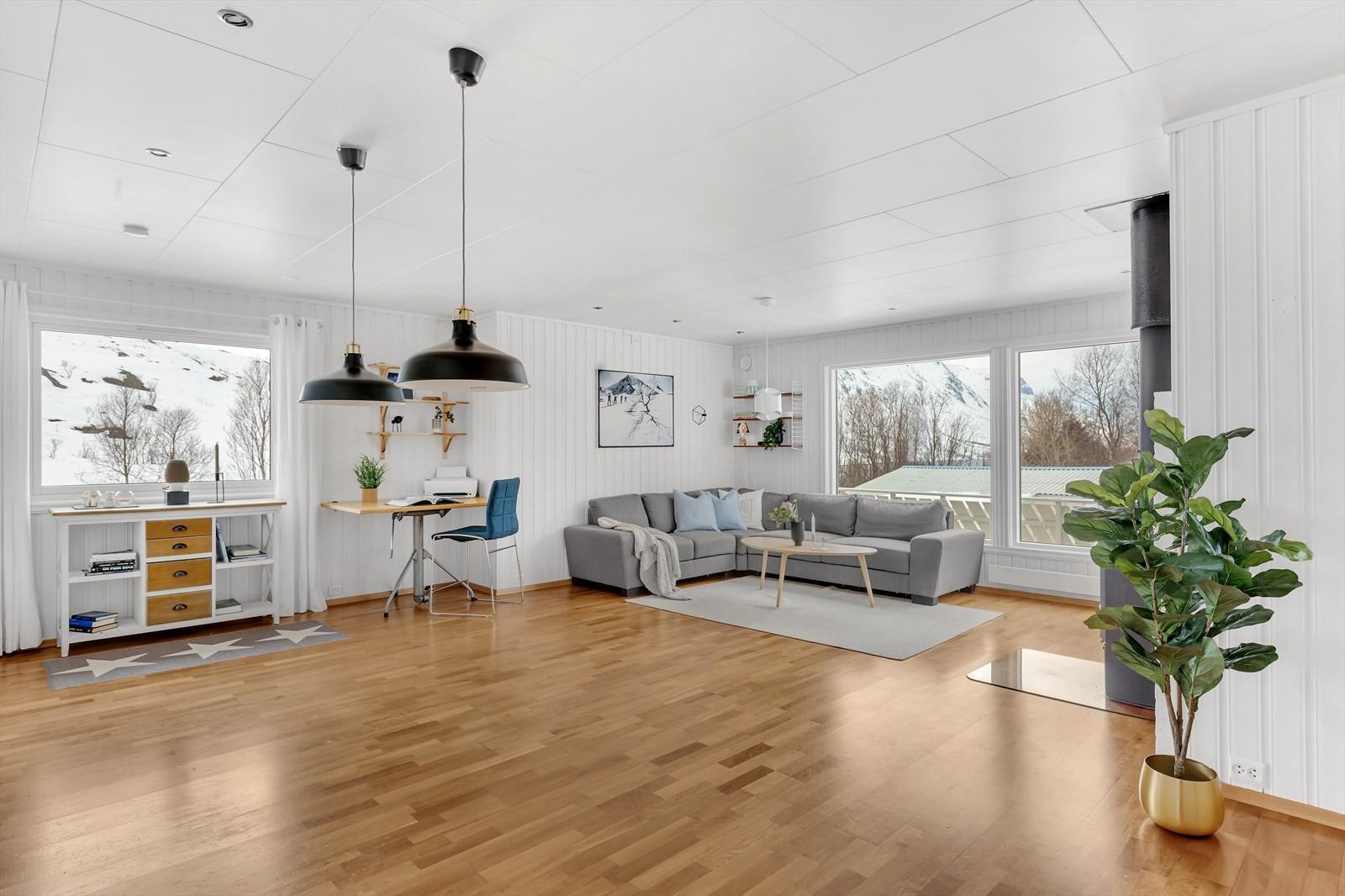 Romslig stue med fin lysgjennomgang