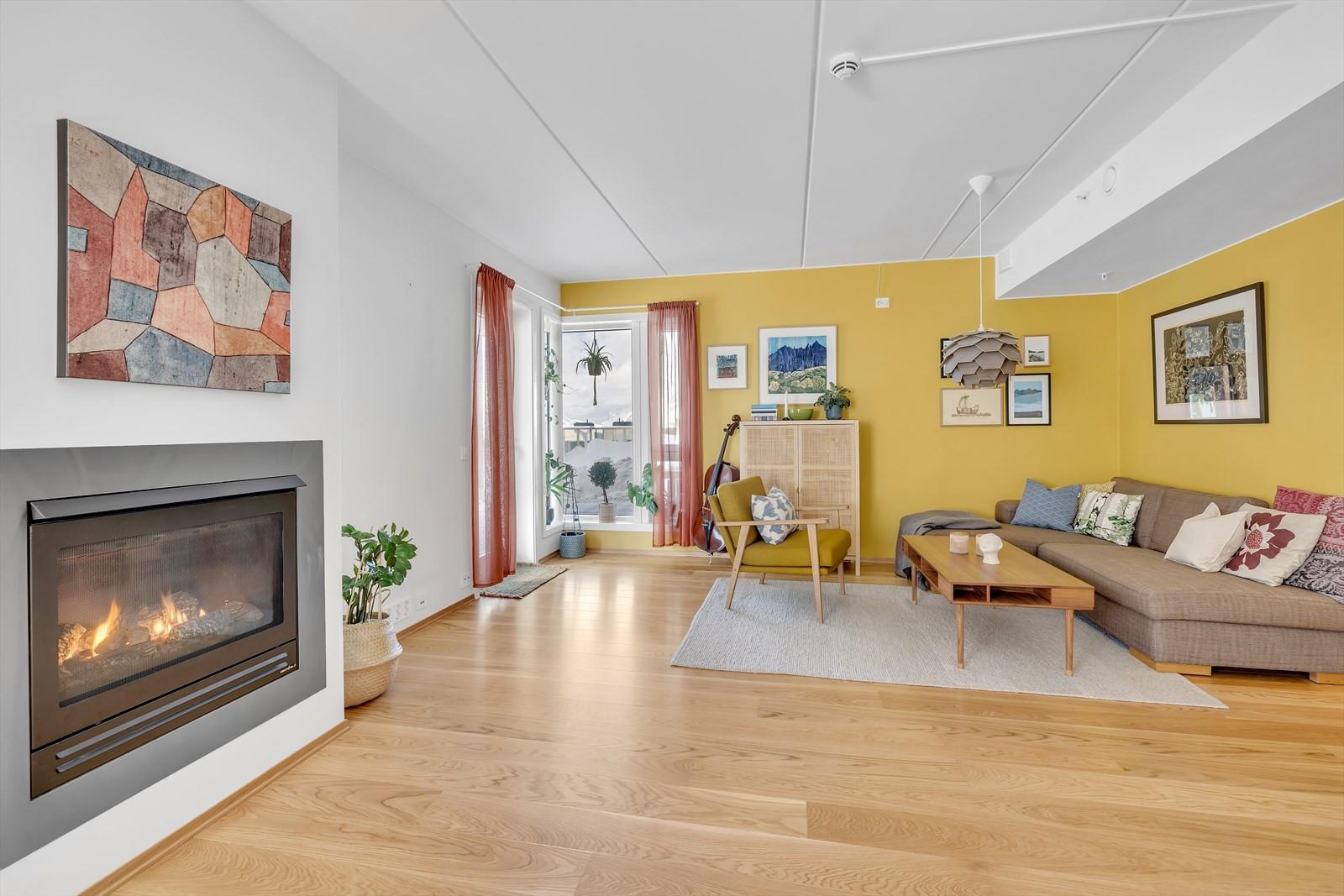 Lys og fin stue med gasspeis