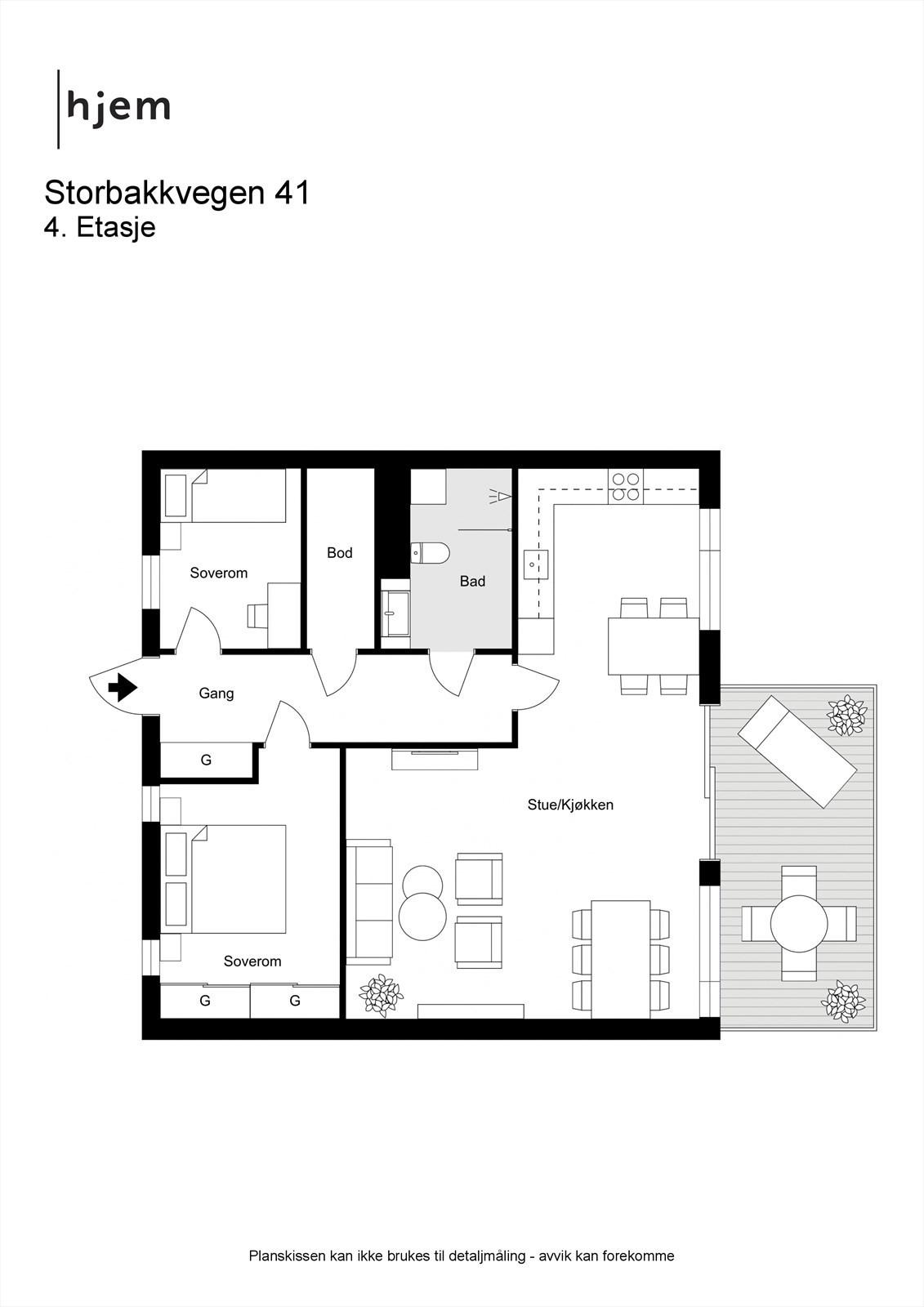 Praktisk leilighet med god planløsning, stor stue og innvendig bod
