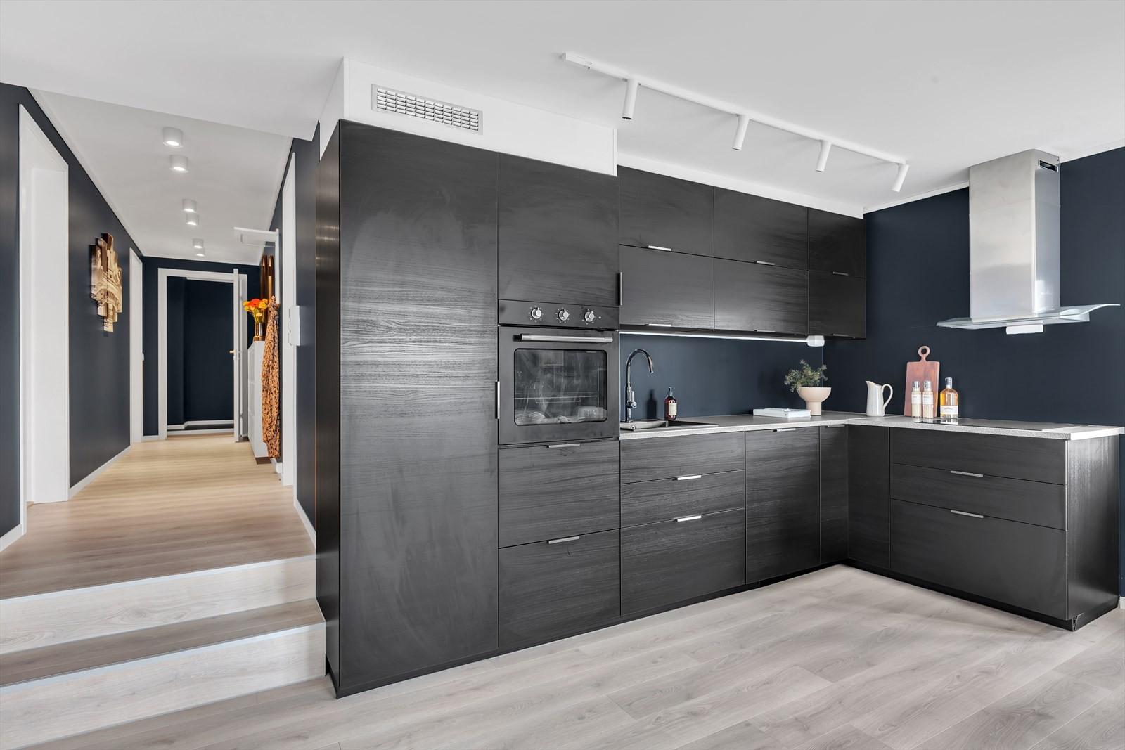 Moderne kjøkken i mørk utførelse