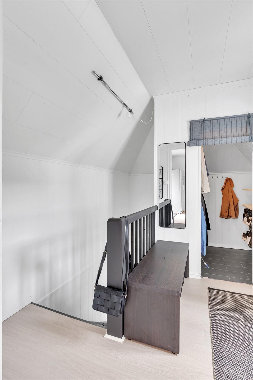 Gang, bod og trappenedgang til entré.