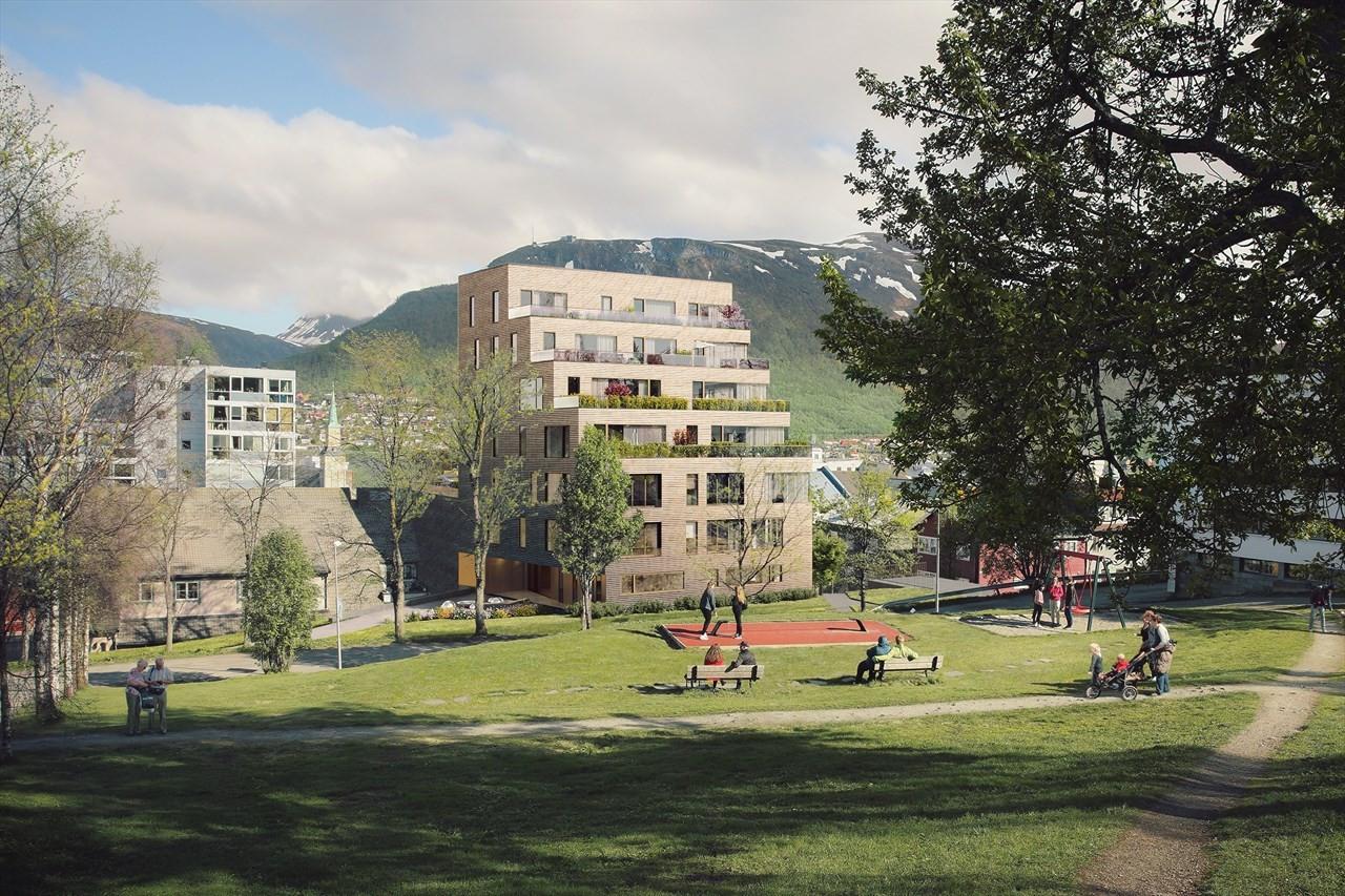 Kongsparken vil få flotte uteområder og grøntareal rett utenfor bygget - illustrasjon