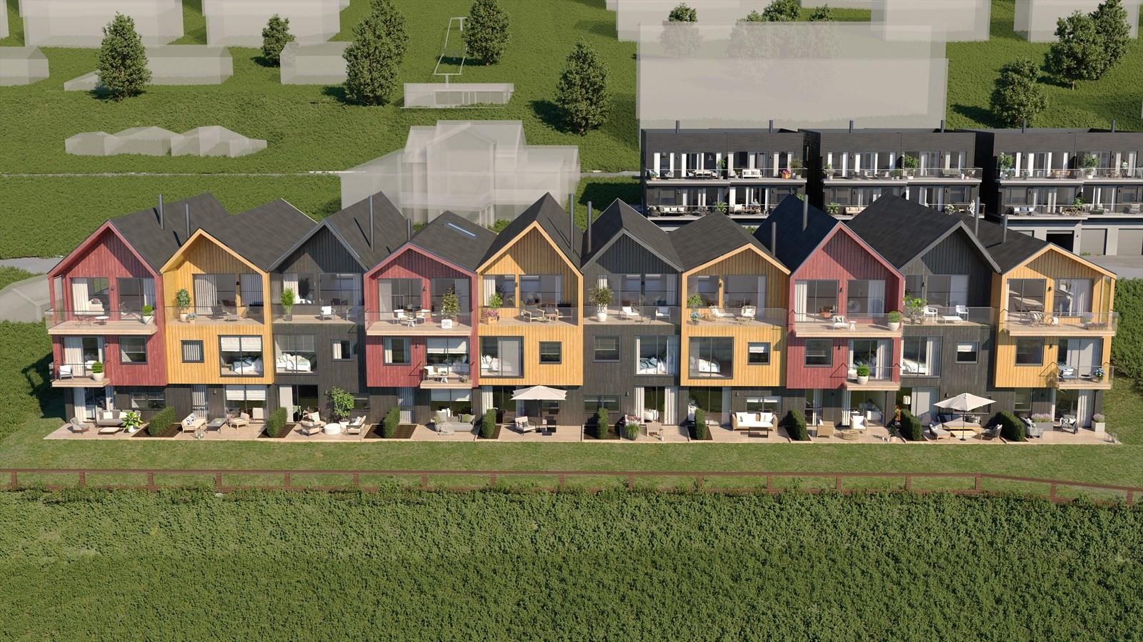 Foran boligene vil det være ett meget romslig uteareal med plen.