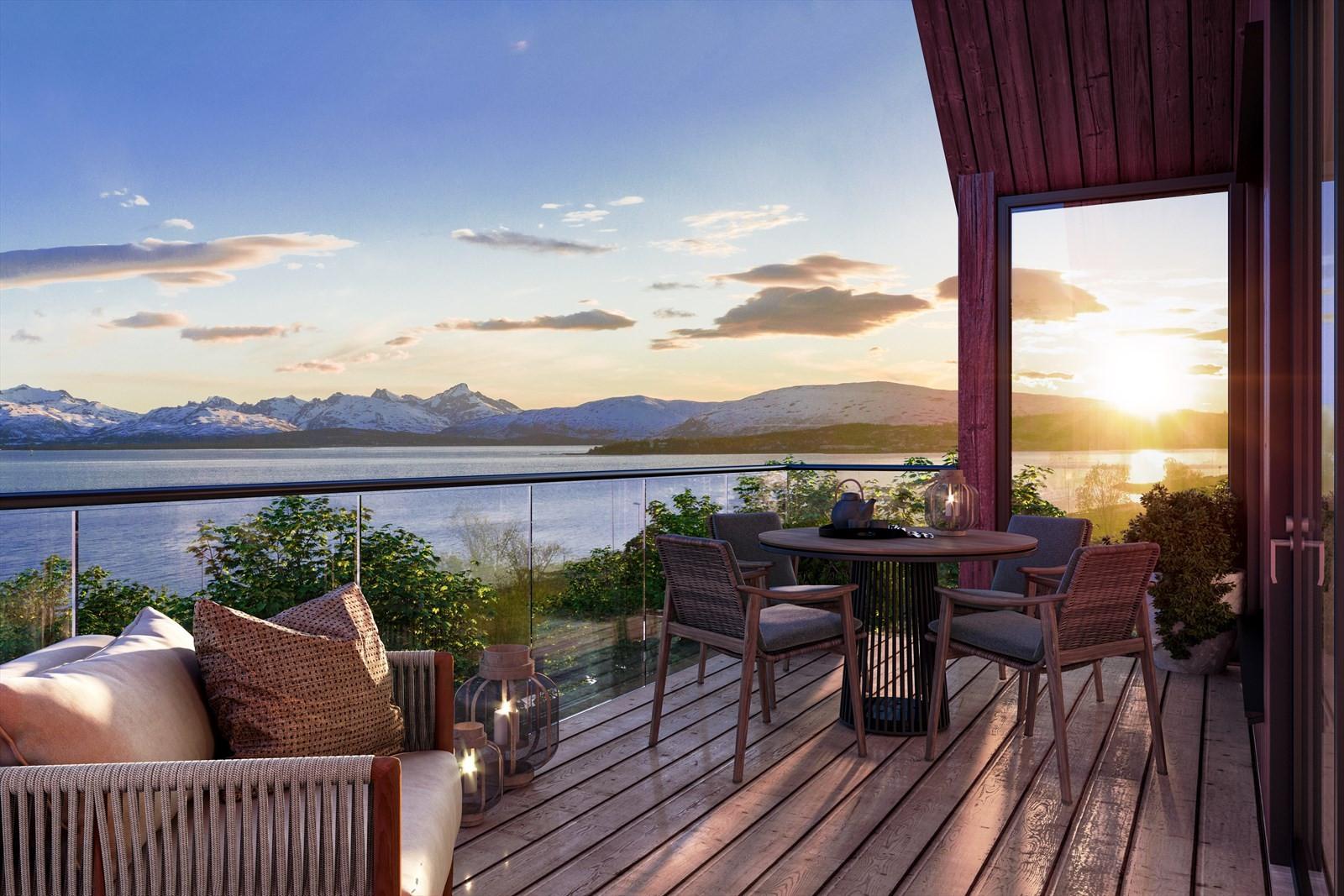 Nydelig utsikt fra balkongene og gode solforhold! Velkommen til Fløylia!