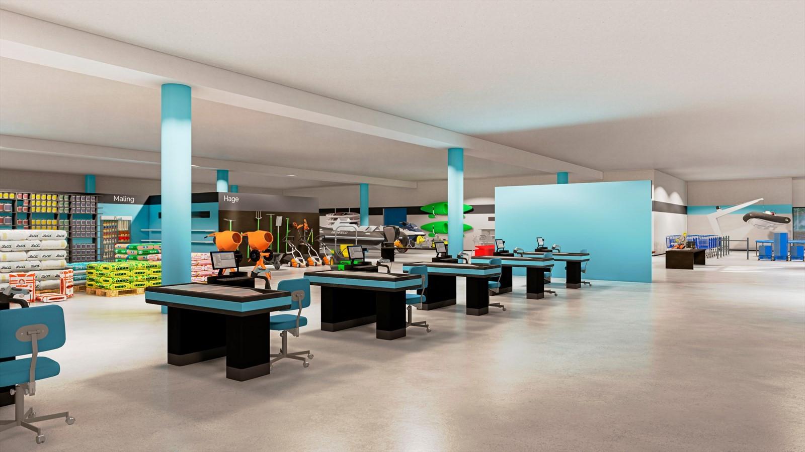 Handelslokale på 3400 m2 bra.