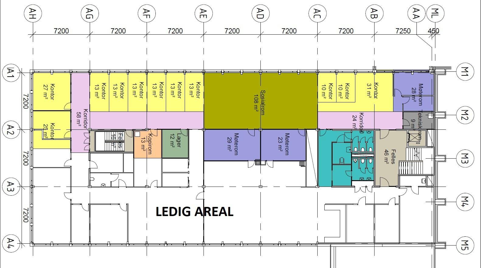 Planskisse 3. etasje - ledig areal i hvit