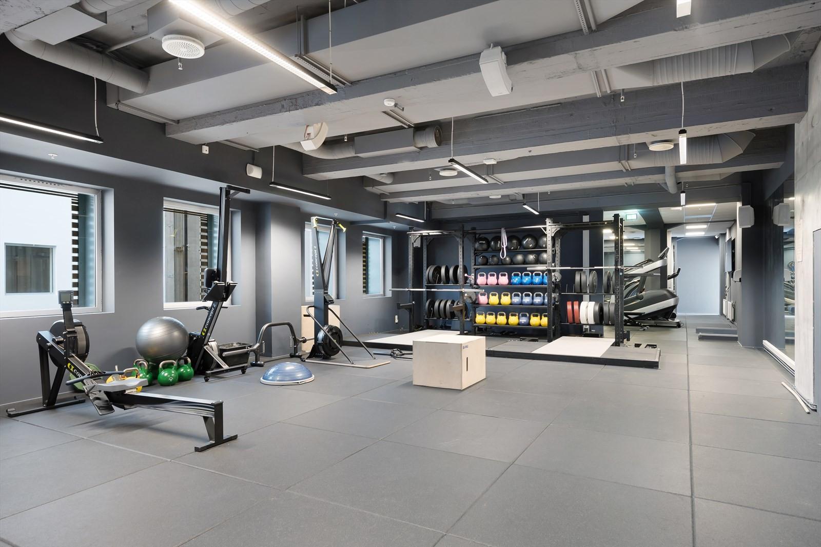 Topp moderne treningsrom, inkludert i leien