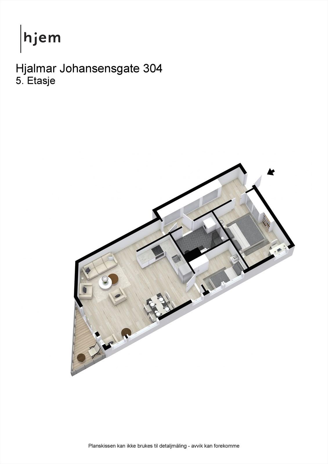 3D planillustrasjon av leilighetens planløsning.