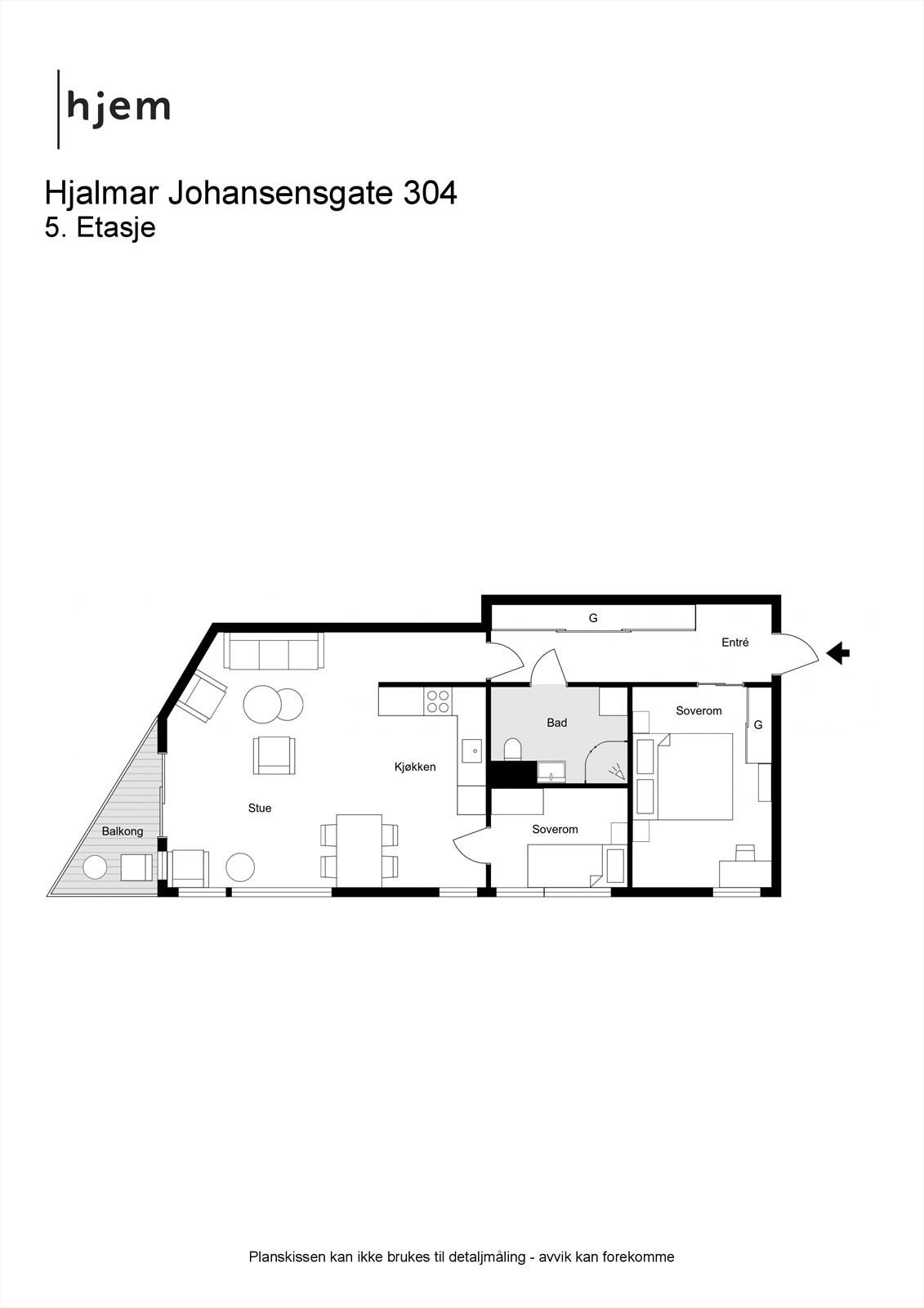 2D planillustrasjon av leilighetens planløsning.