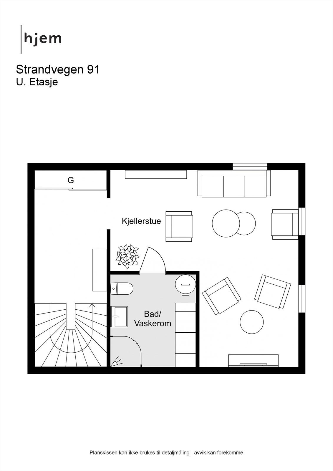 2D planillustrasjon av u. etasje.