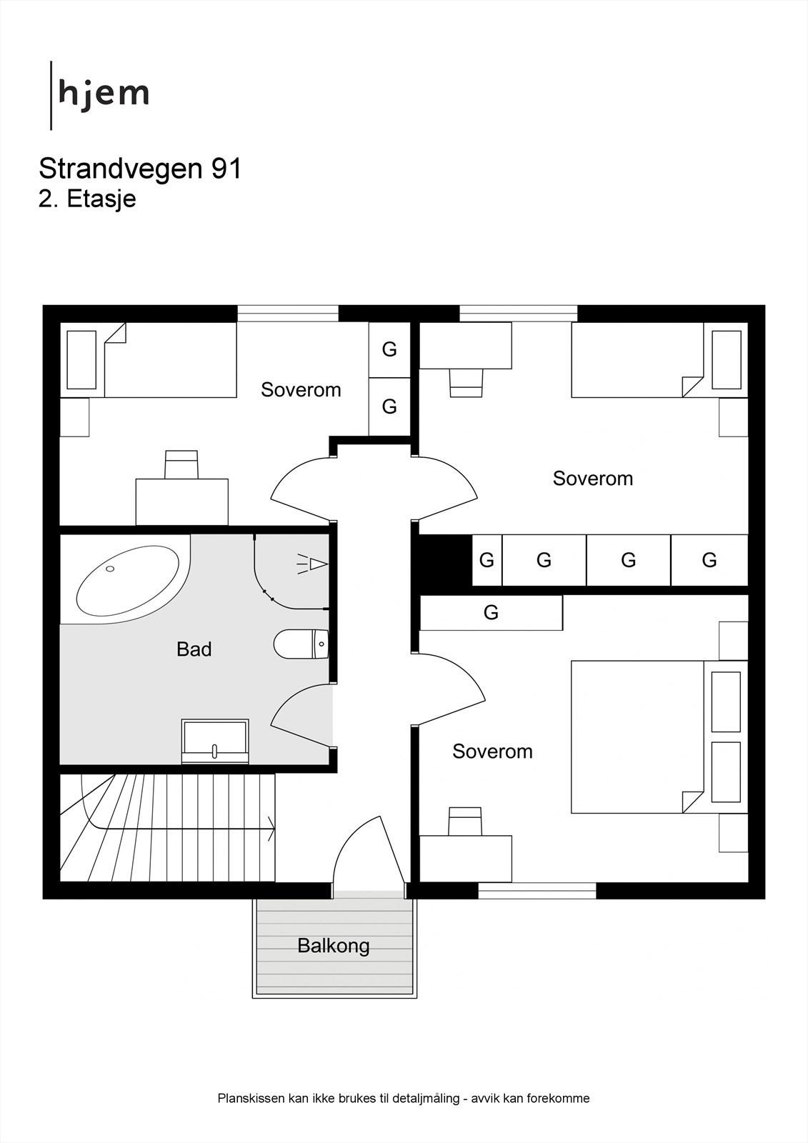 2D planillustrasjon av 2. etasje.