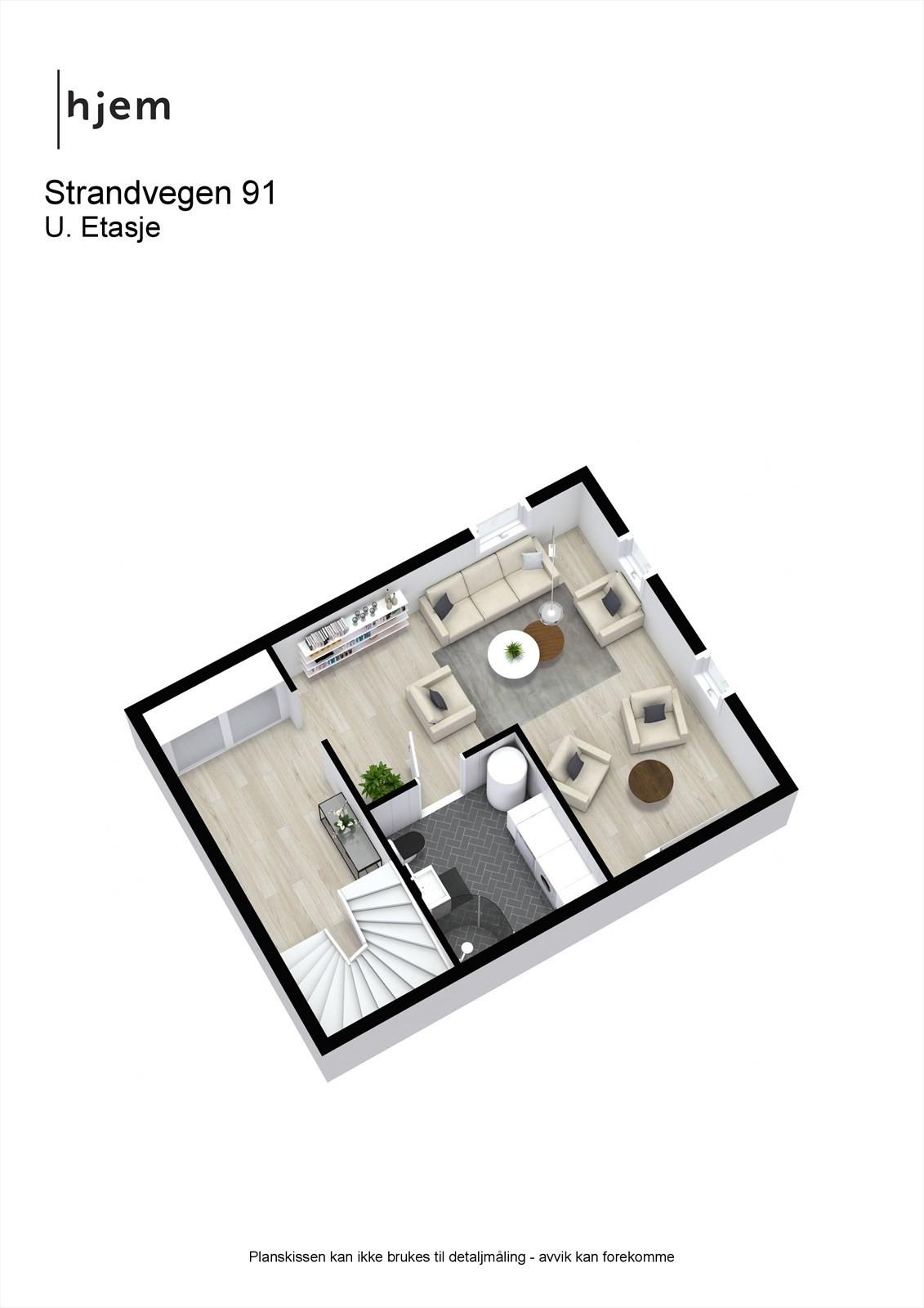 3D planillustrasjon av u. etasje.
