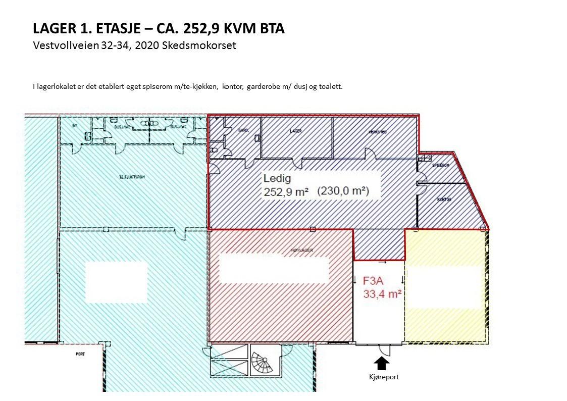 Planskisse lager 1. etasje ca. 253 kvm