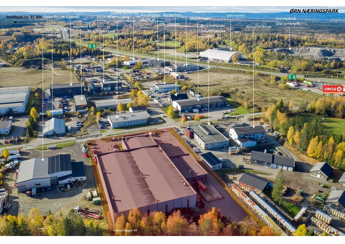 Sentral beliggenhet i veletablert industriområde med rask adkomst til E6