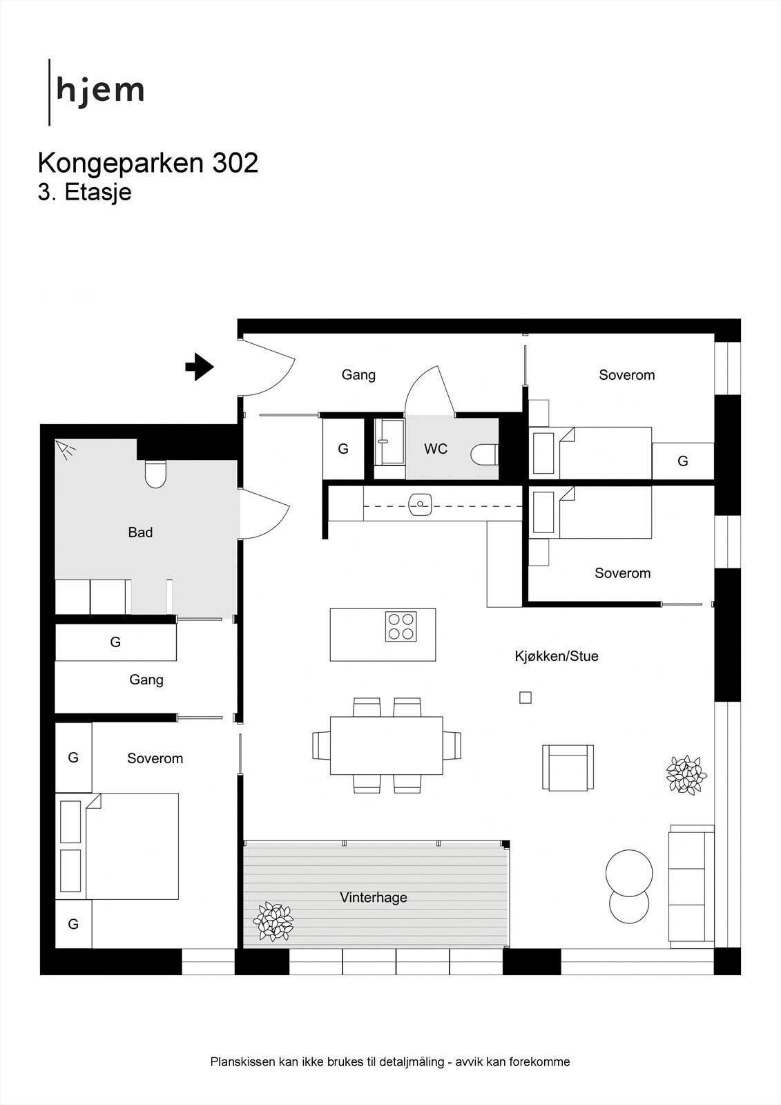 Kongeparken 302 - 2D - 3. Etasje - Vinterhagen er tatt bort - dette er nå en del av stuen, men dørende kan åpnes som tidligere