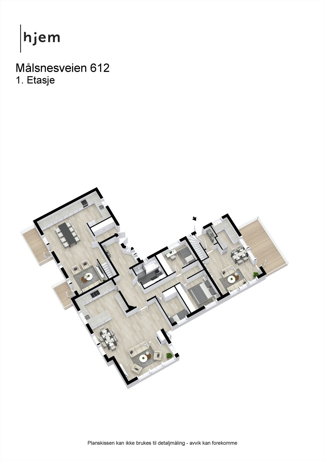 Målsnesveien 612 - 3D - 1. Etasje - alternativ løsning med 3 leiligheter