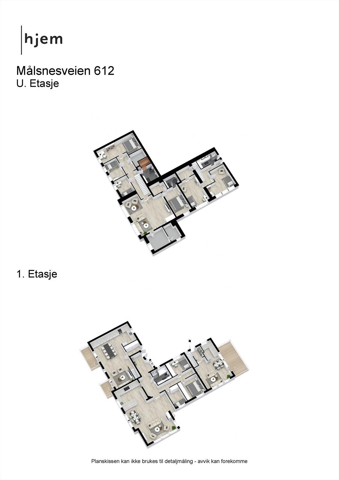 Målsnesveien 612 - 3D - alternativ løsning med 3 leiligheter