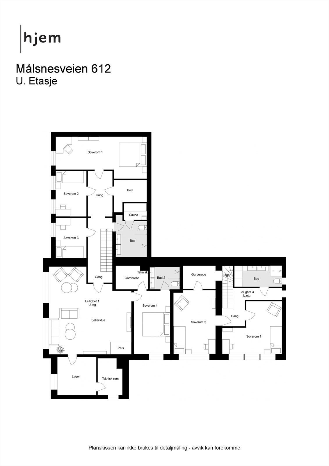 Målsnesveien 612 - 2D - alternativ løsning med 3 leiligheter